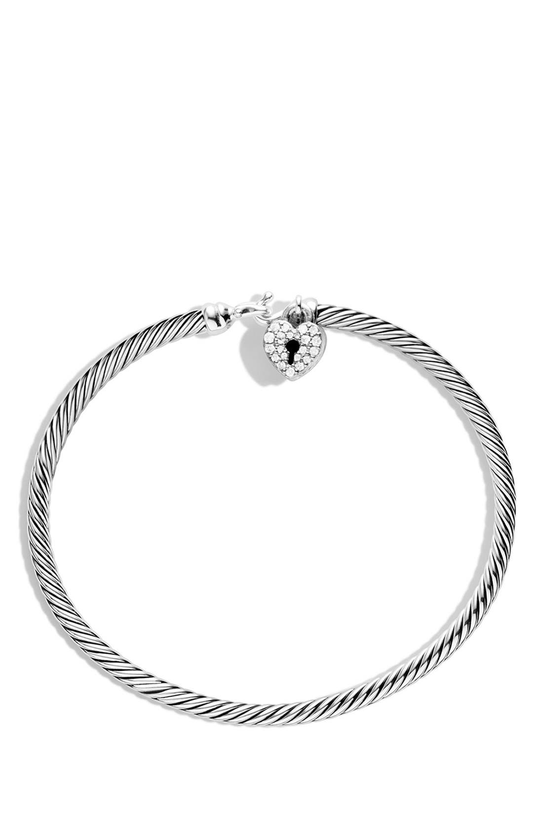 'Cable Collectibles' Heart Lock Bracelet with Diamonds,                             Alternate thumbnail 2, color,                             Diamond