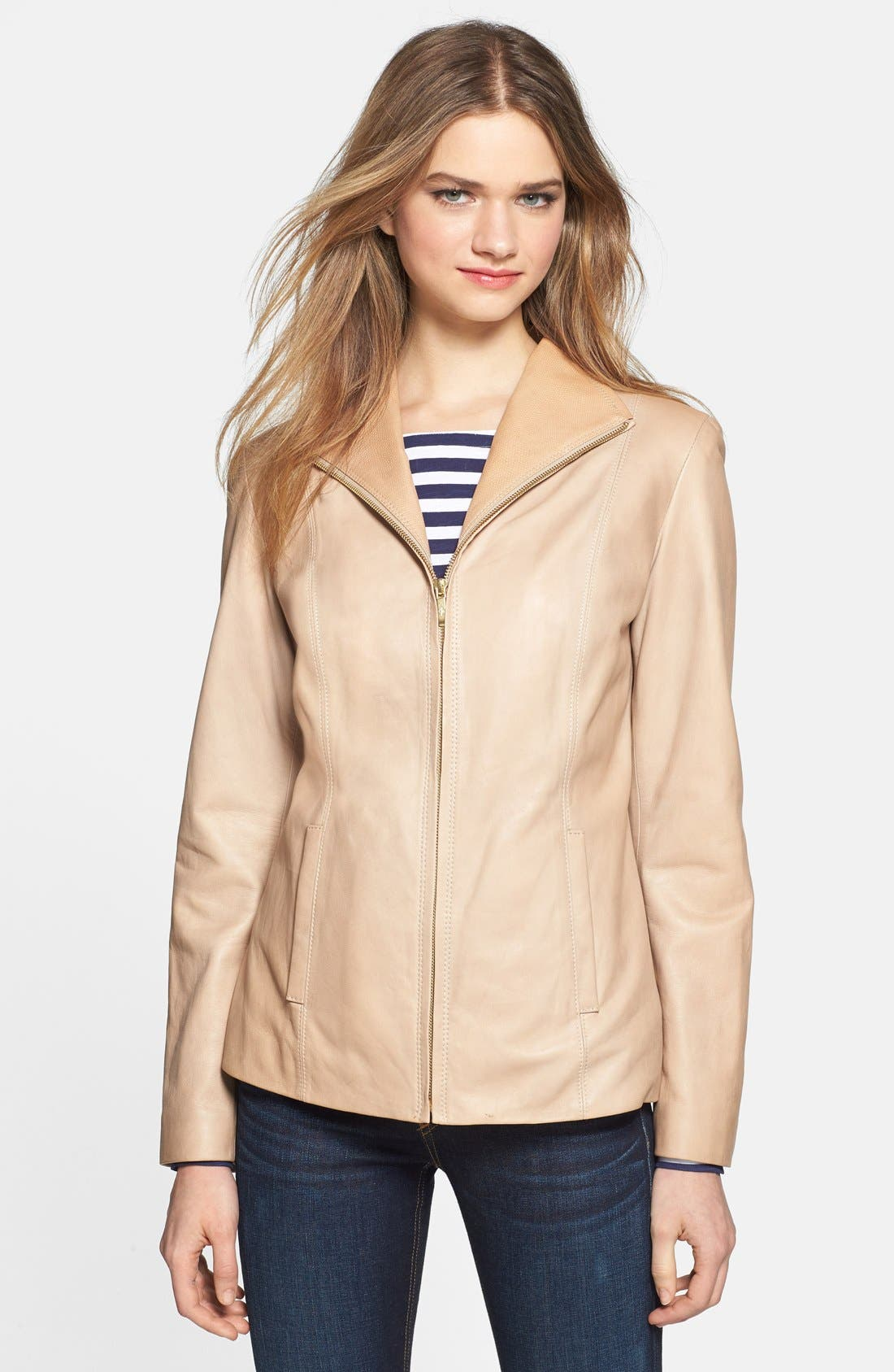 Alternate Image 1 Selected - Cole Haan Zip Front Leather Jacket