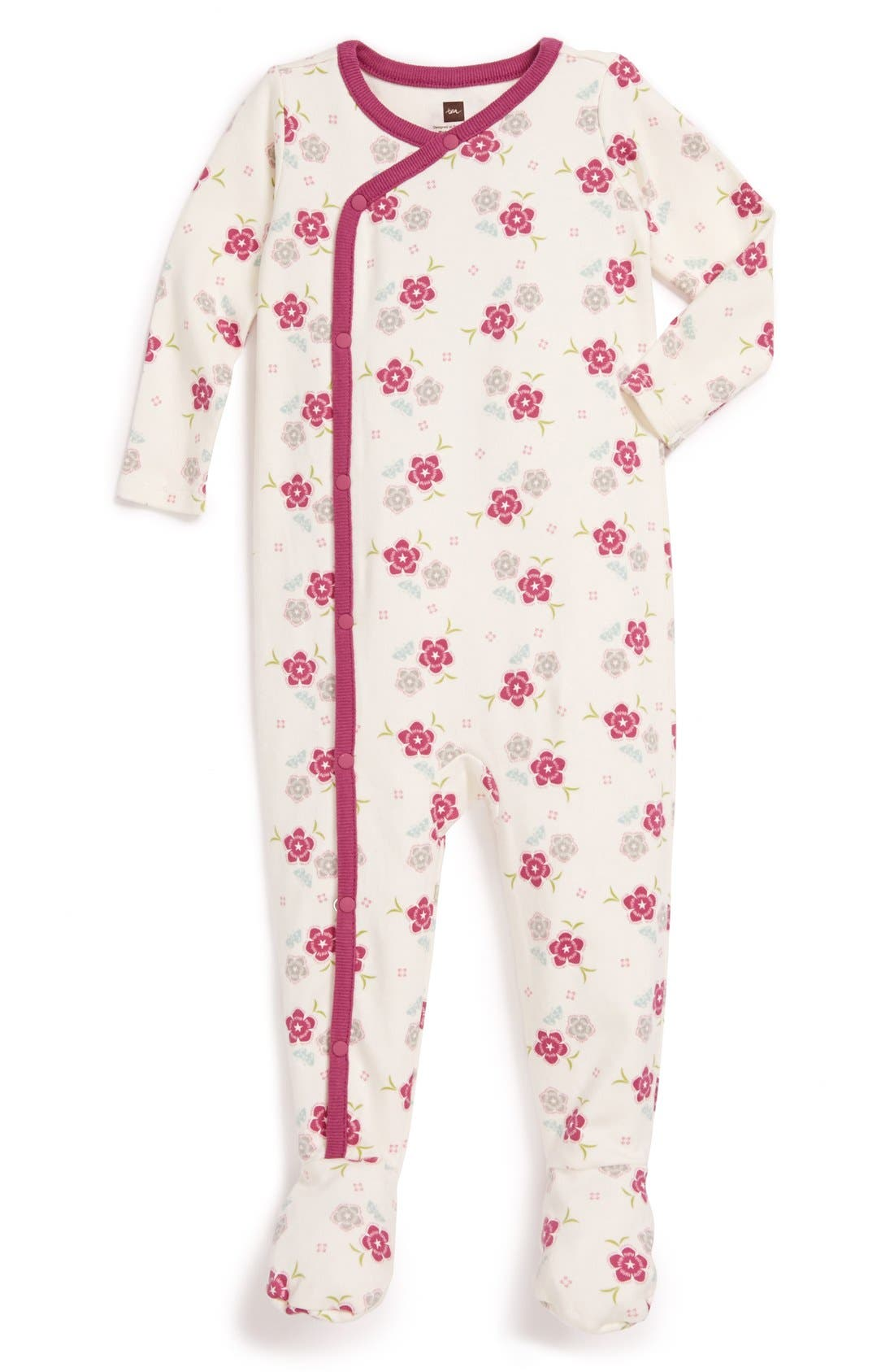 Main Image - Tea Collection 'Zahra' Floral Footie (Baby Girls)