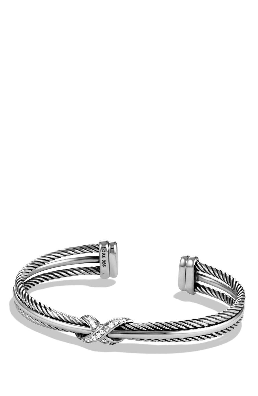 'X' Crossover Cuff with Diamonds,                         Main,                         color, Diamond