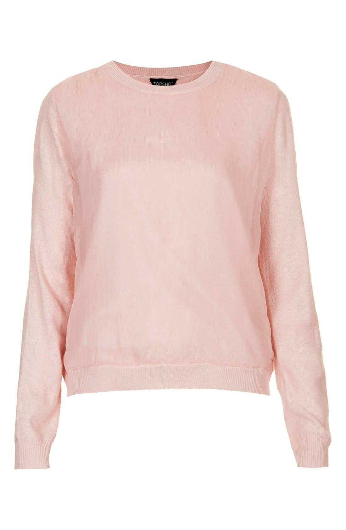 Alternate Image 3  - Topshop Organza Overlay Knit Sweater