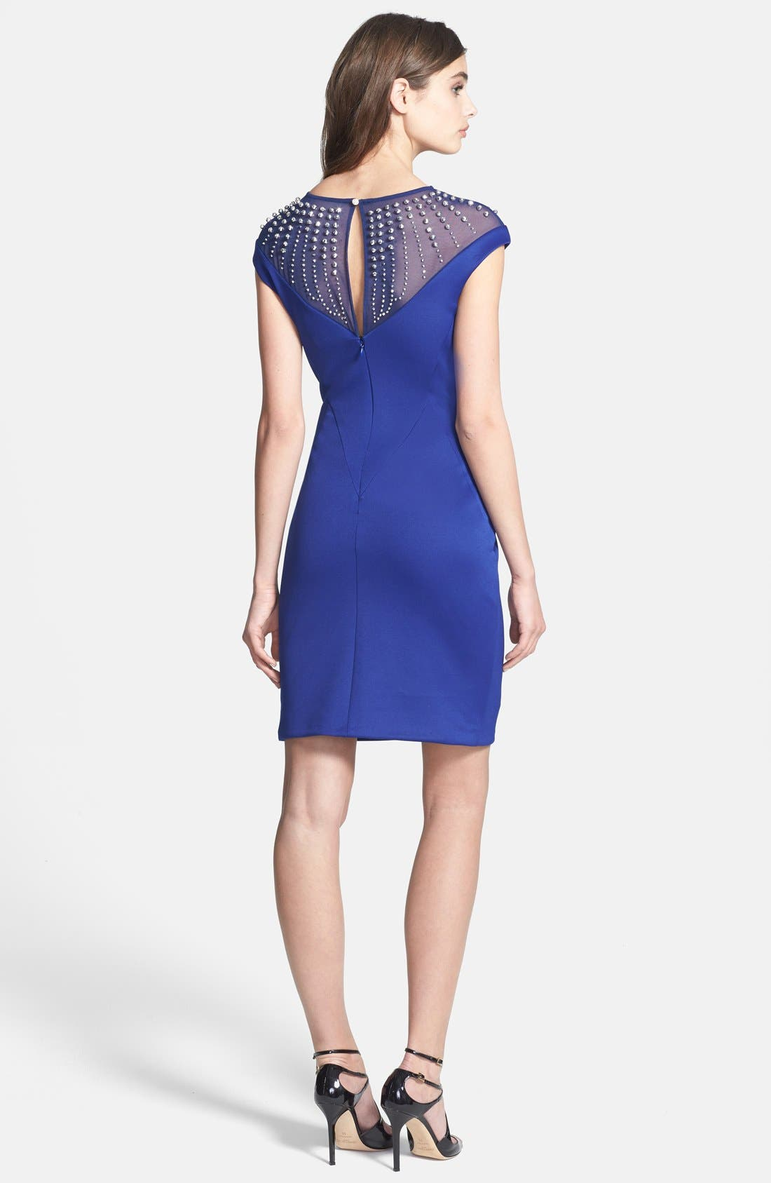 Alternate Image 2  - Alexia Admor Embellished Yoke Ponte Sheath Dress