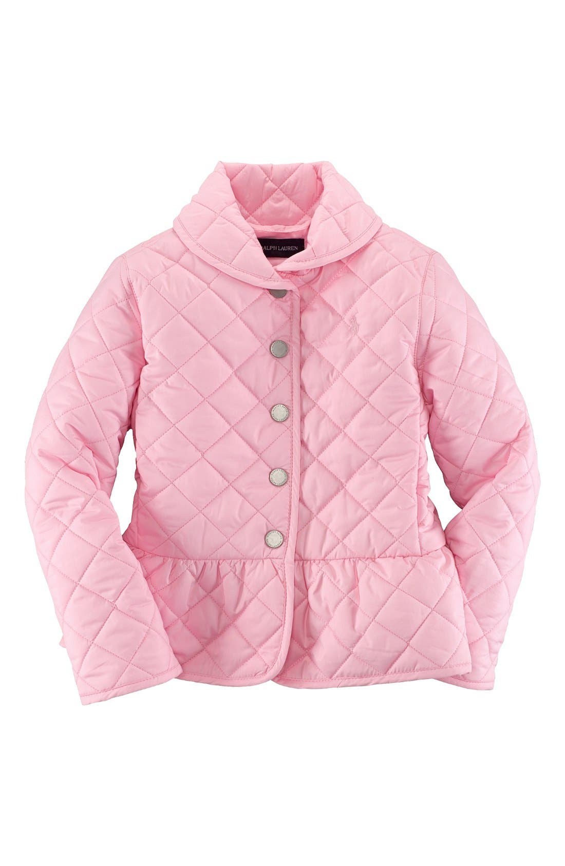Alternate Image 1 Selected - Ralph Lauren Quilted Peplum Jacket (Toddler Girls)