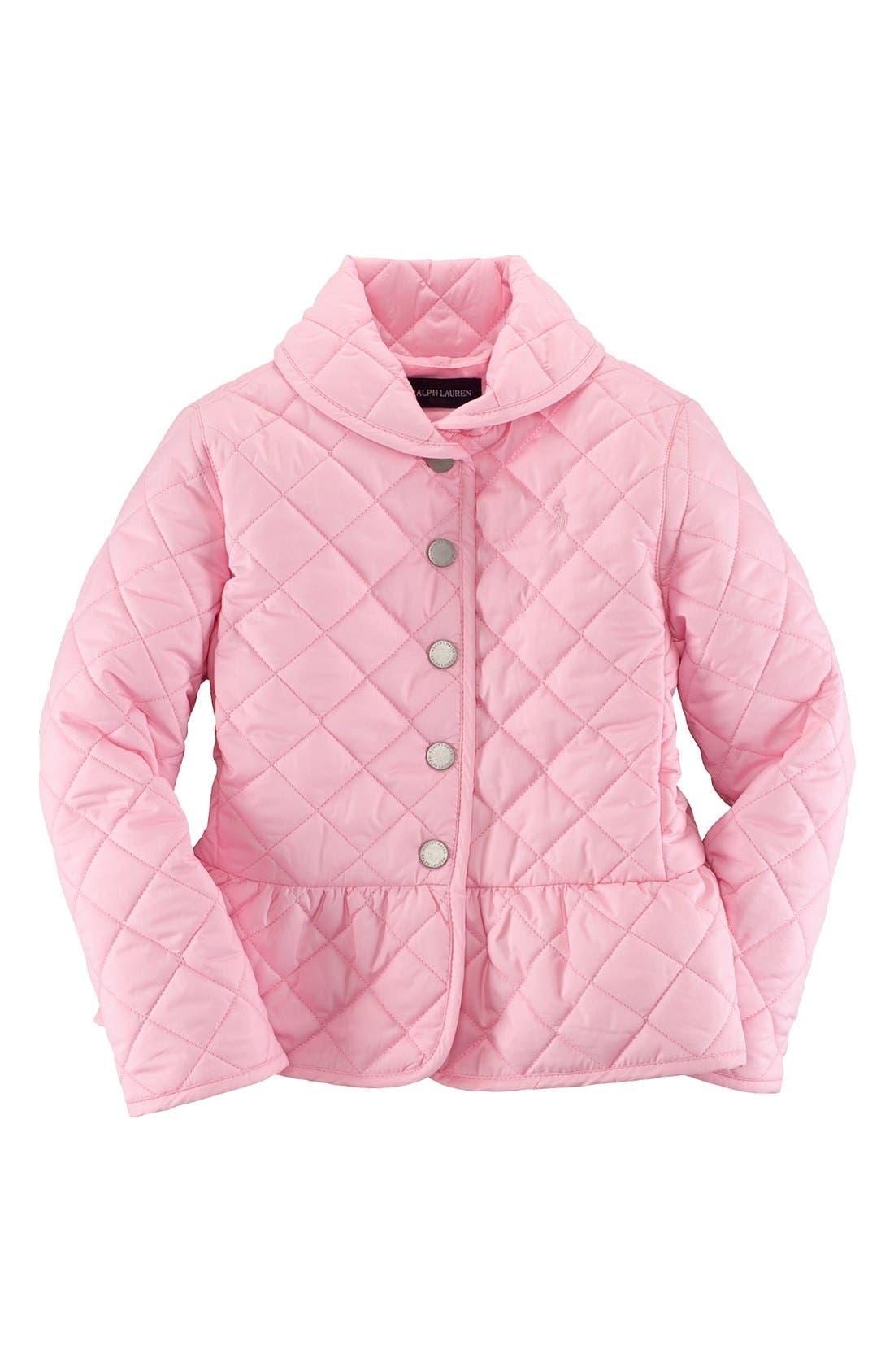 Main Image - Ralph Lauren Quilted Peplum Jacket (Toddler Girls)