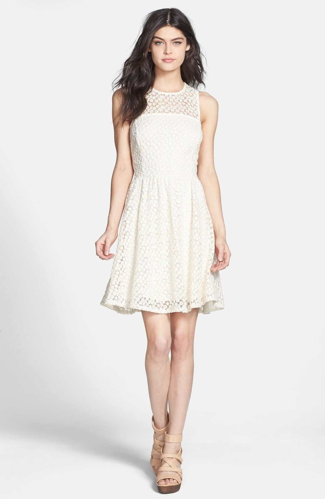 Main Image - Ella Moss 'Taylor' Embroidered Mesh Fit & Flare Dress