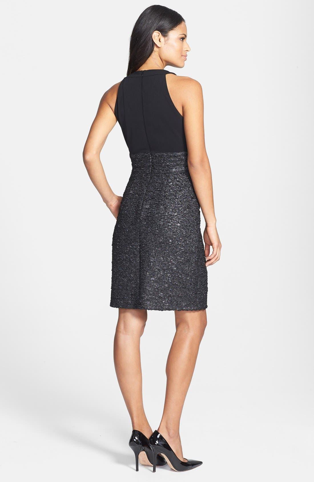 Alternate Image 2  - Donna Ricco Beaded Neck Sleeveless Mixed Media Dress (Petite)