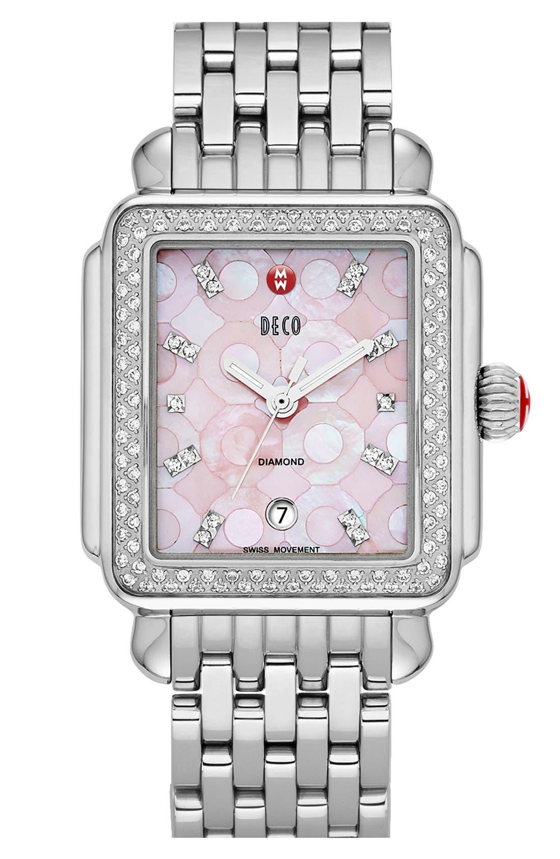 Alternate Image 2  - MICHELE 'Deco Diamond' Pink Mosaic Dial Watch Case, 33mm x 35mm