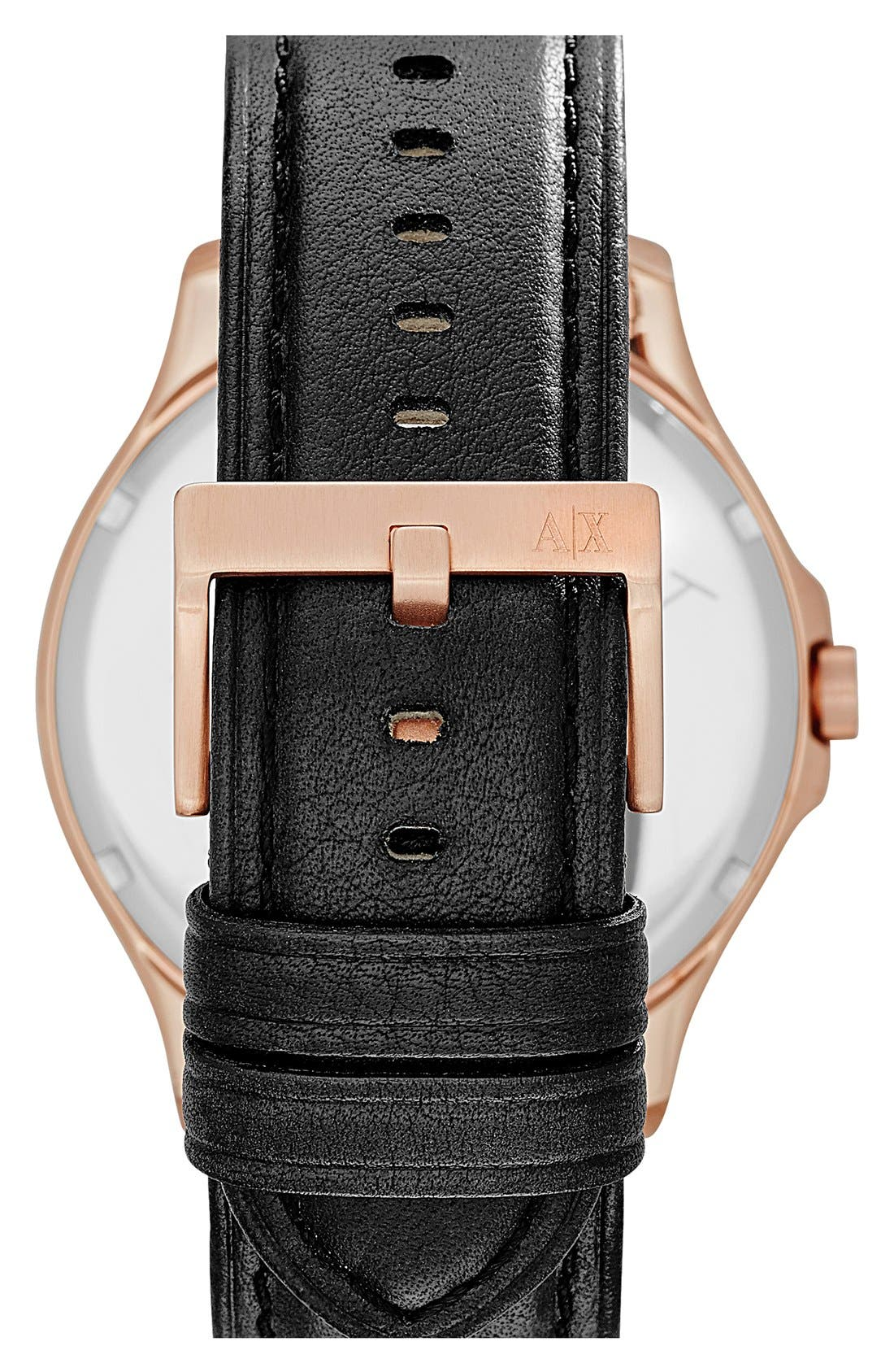 Alternate Image 3  - AX Armani Exchange Leather Strap Watch, 46mm