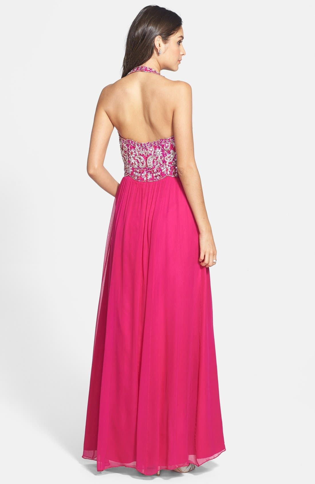 Alternate Image 2  - Sean Collection Beaded Bodice Chiffon Halter Gown