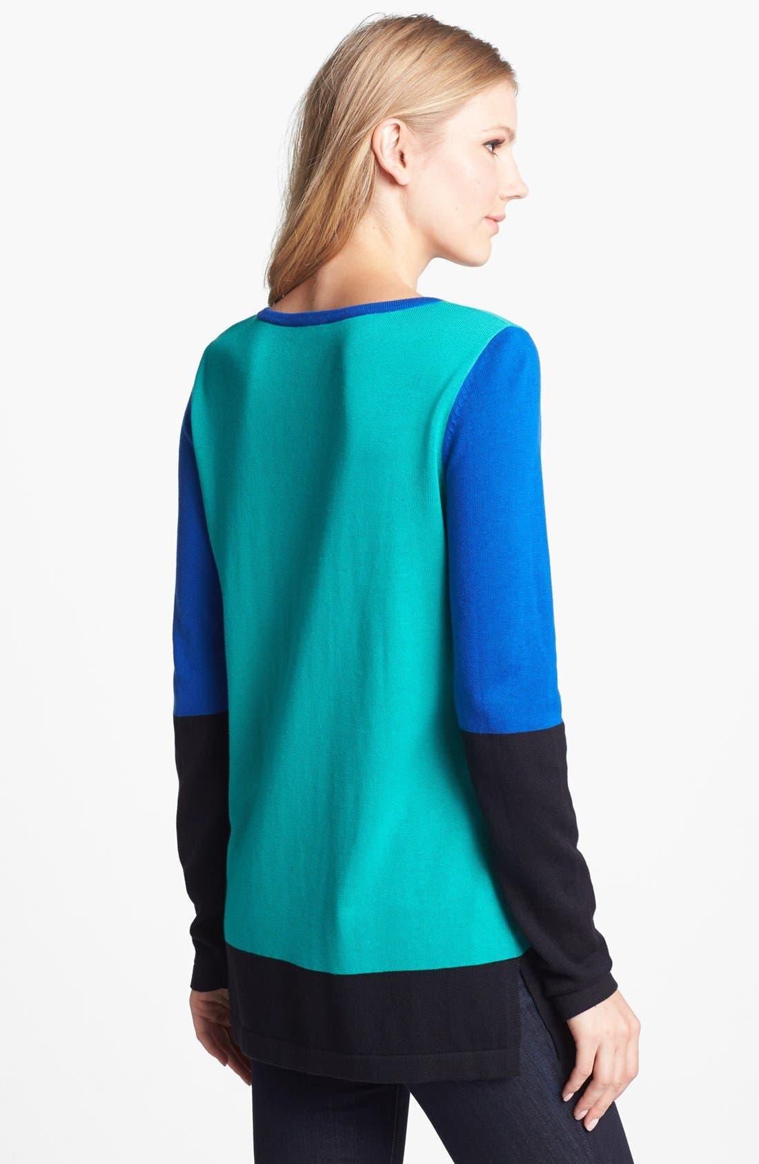 Alternate Image 2  - Vince Camuto Colorblock Cotton Blend Sweater (Petite)