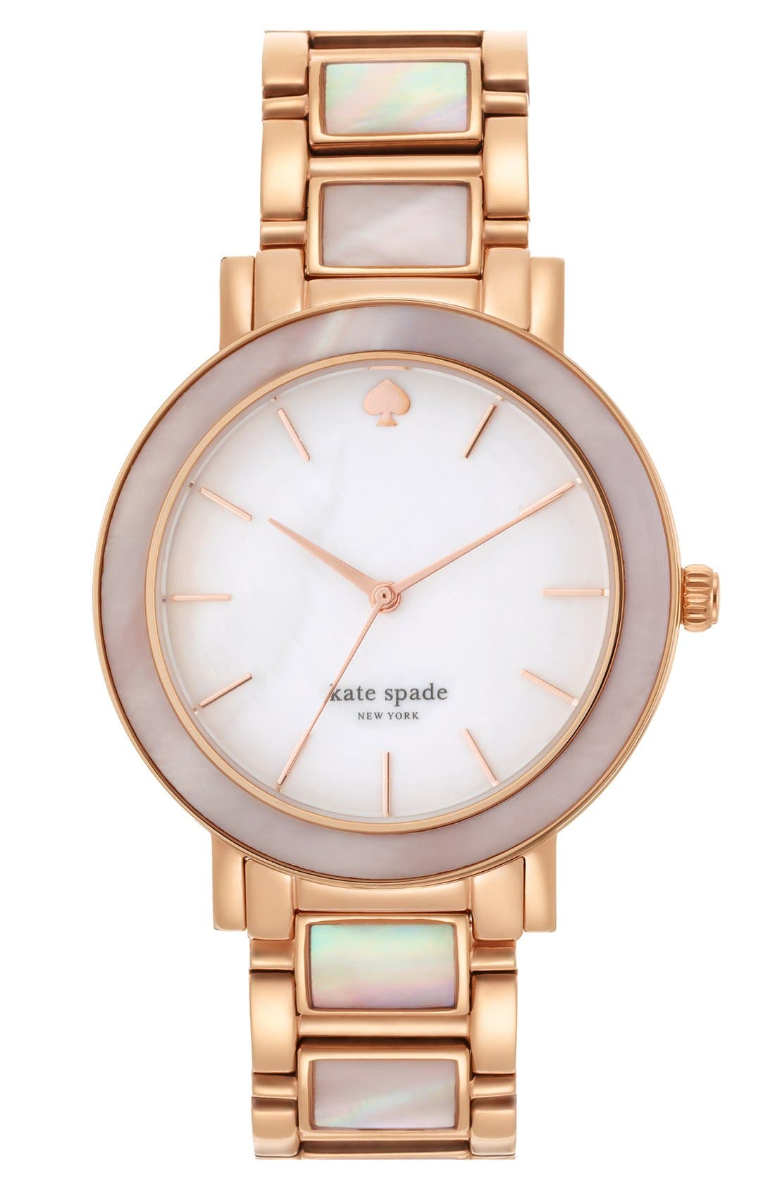 Main Image - kate spade new york 'gramercy grand' mother-of-pearl bracelet watch, 38mm