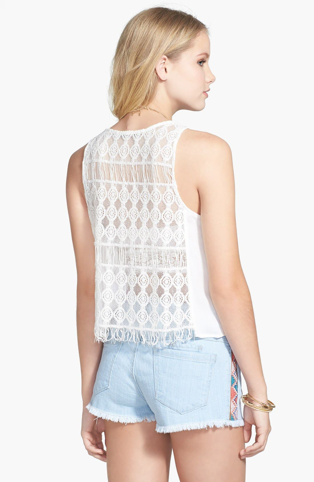 Alternate Image 2  - Chloe K Sheer Crocheted Top (Juniors) (Online Only)