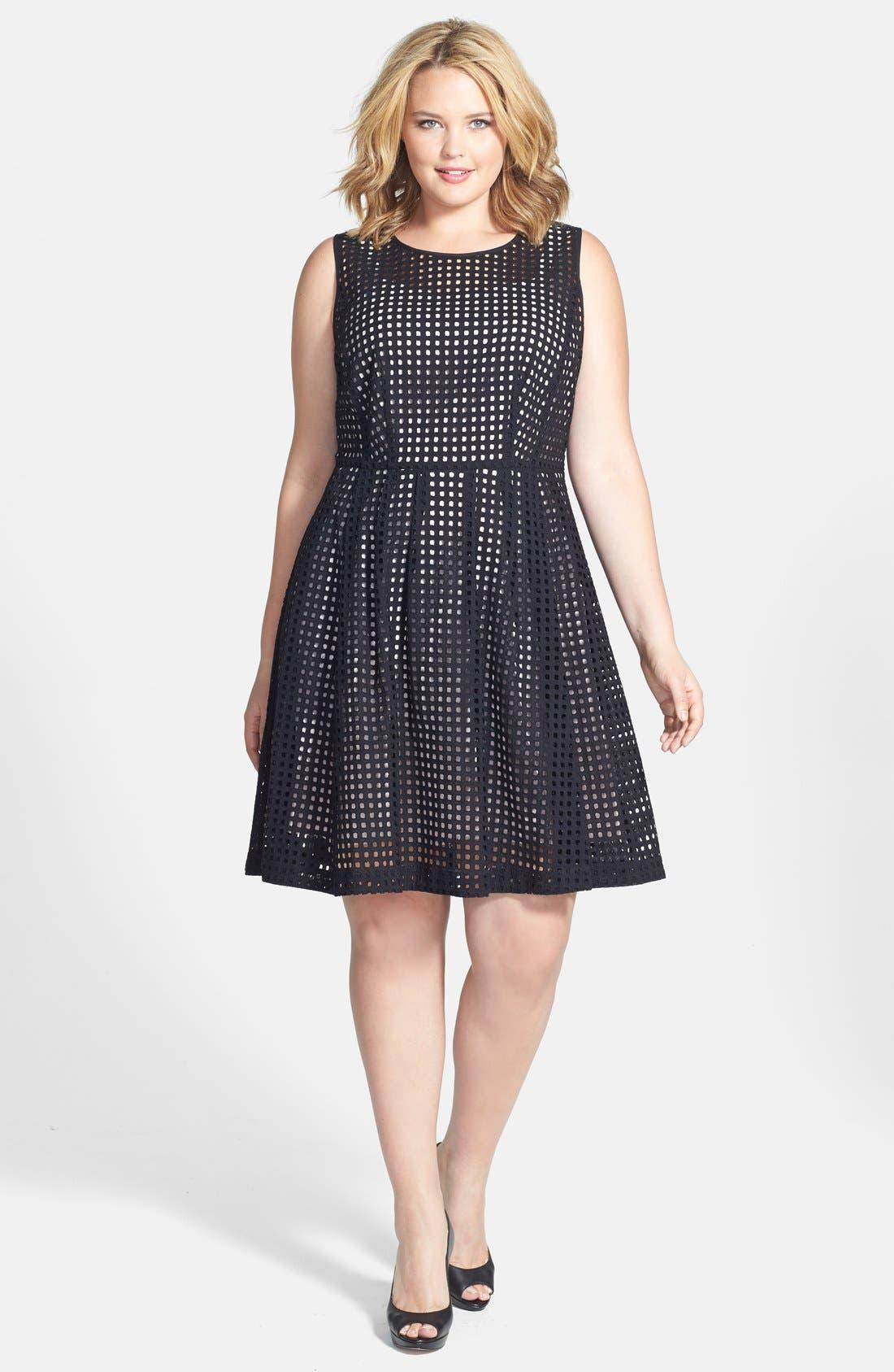 Main Image - Halogen® 'Prism' Eyelet Cotton Fit & Flare Dress (Plus Size)