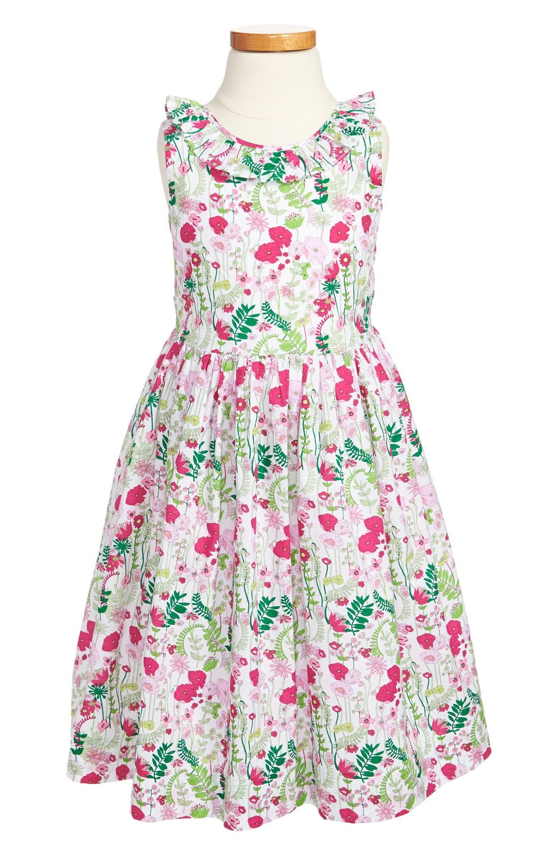 Alternate Image 1 Selected - Oscar de la Renta Ruffle Collar Dress (Little Girls & Big Girls)