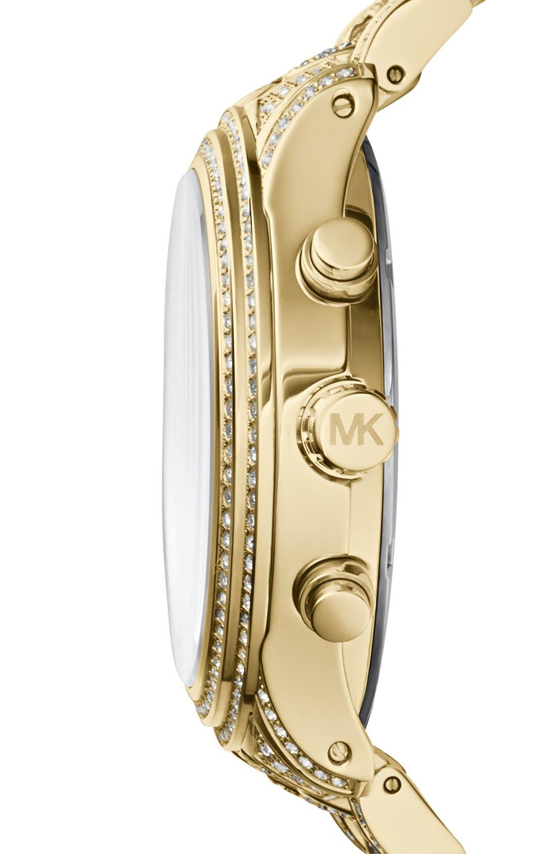 Alternate Image 2  - Michael Kors 'Lindley' Pavé Chronograph Bracelet Watch, 48mm