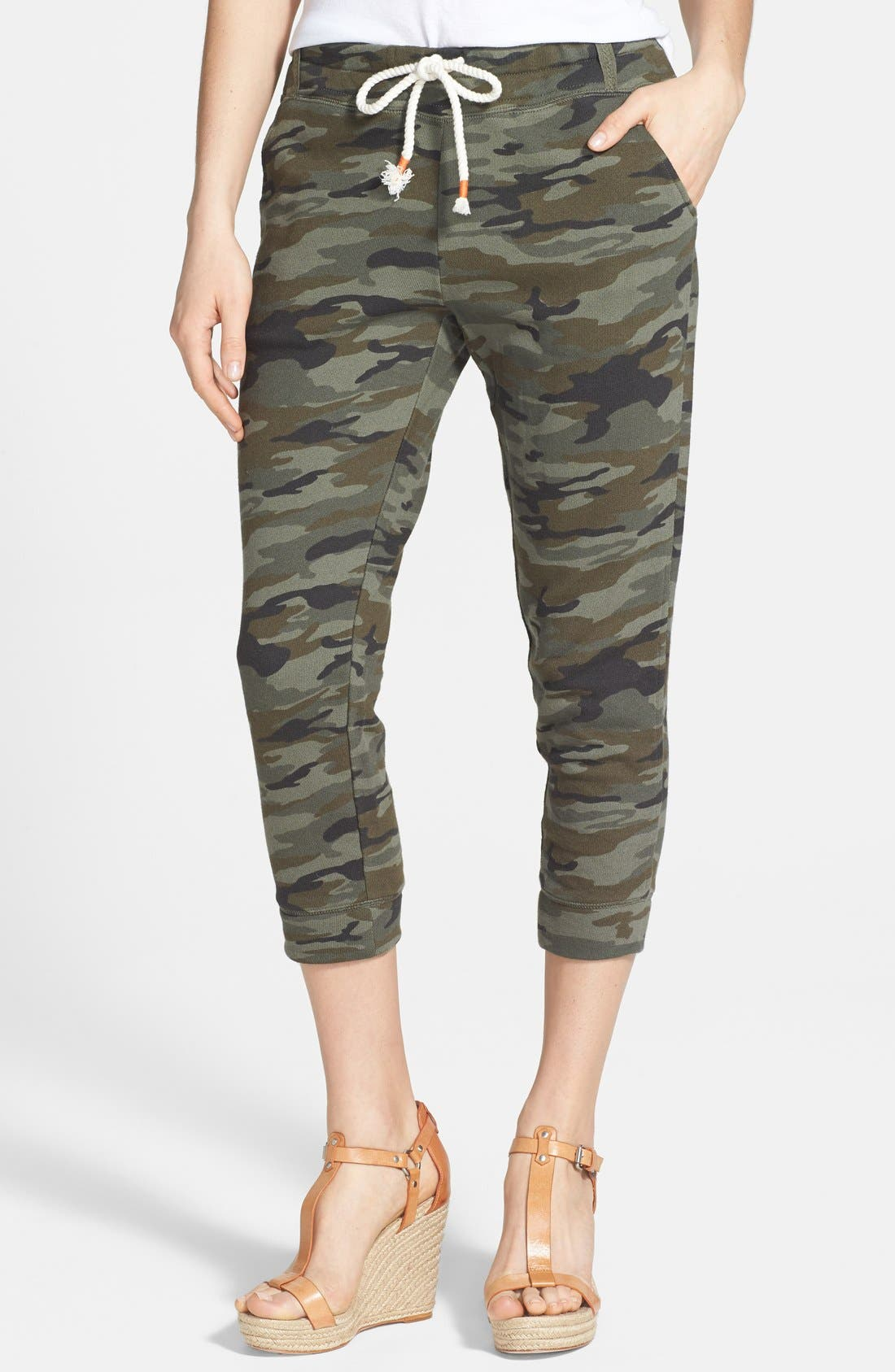 Alternate Image 1 Selected - Lucky Brand Camo Print Crop Skinny Knit Pants