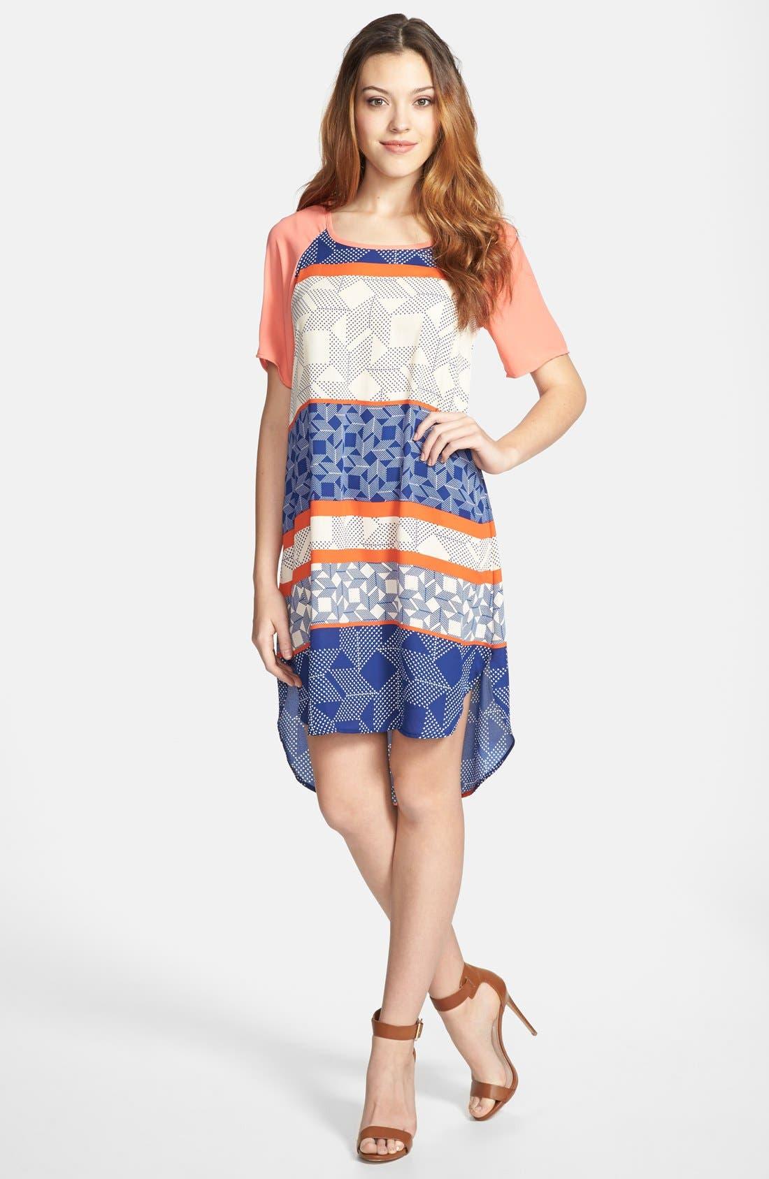 Alternate Image 1 Selected - Bobeau Contrast Trim Crepe T-Shirtdress