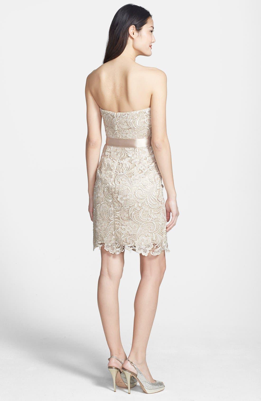 Alternate Image 2  - Adrianna Papell Strapless Lace Sheath Dress