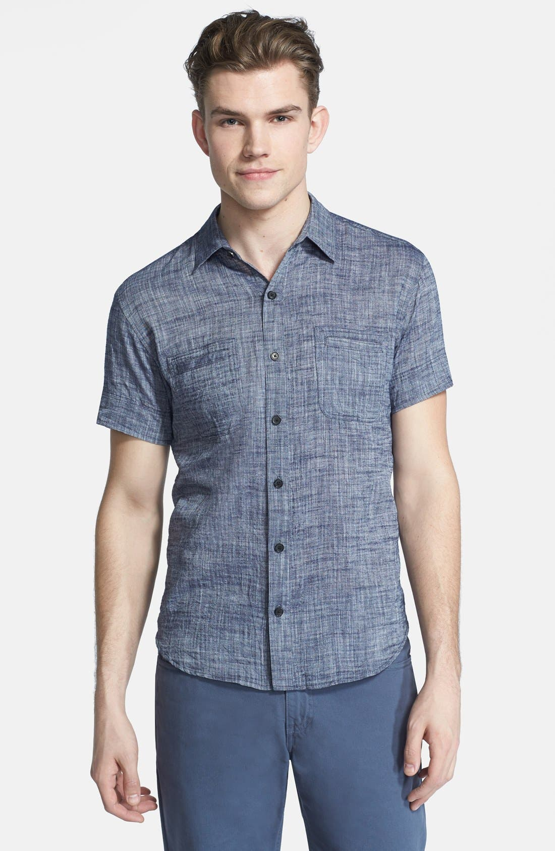 Main Image - Billy Reid 'Donelson' Standard Fit Short Sleeve Chambray Shirt