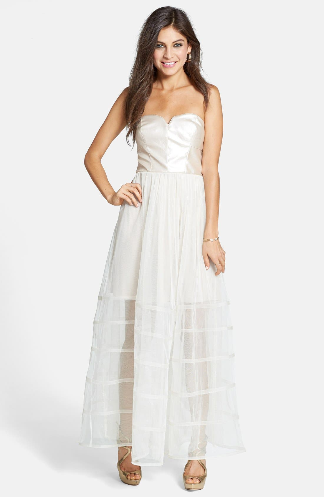 Main Image - Betsey Johnson Dot Print Lace Fit & Flare Dress