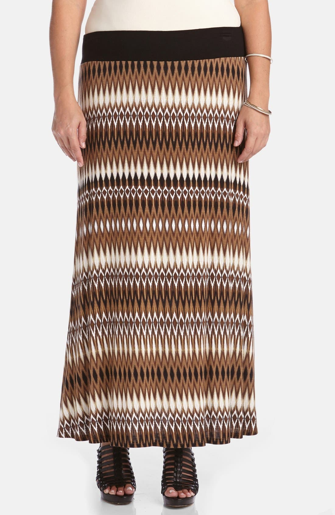 Alternate Image 1 Selected - Karen Kane Print Maxi Skirt (Plus Size)