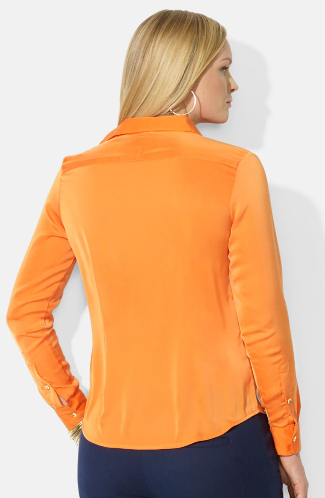 Alternate Image 2  - Lauren Ralph Lauren Zip Pocket Blouse (Plus Size)