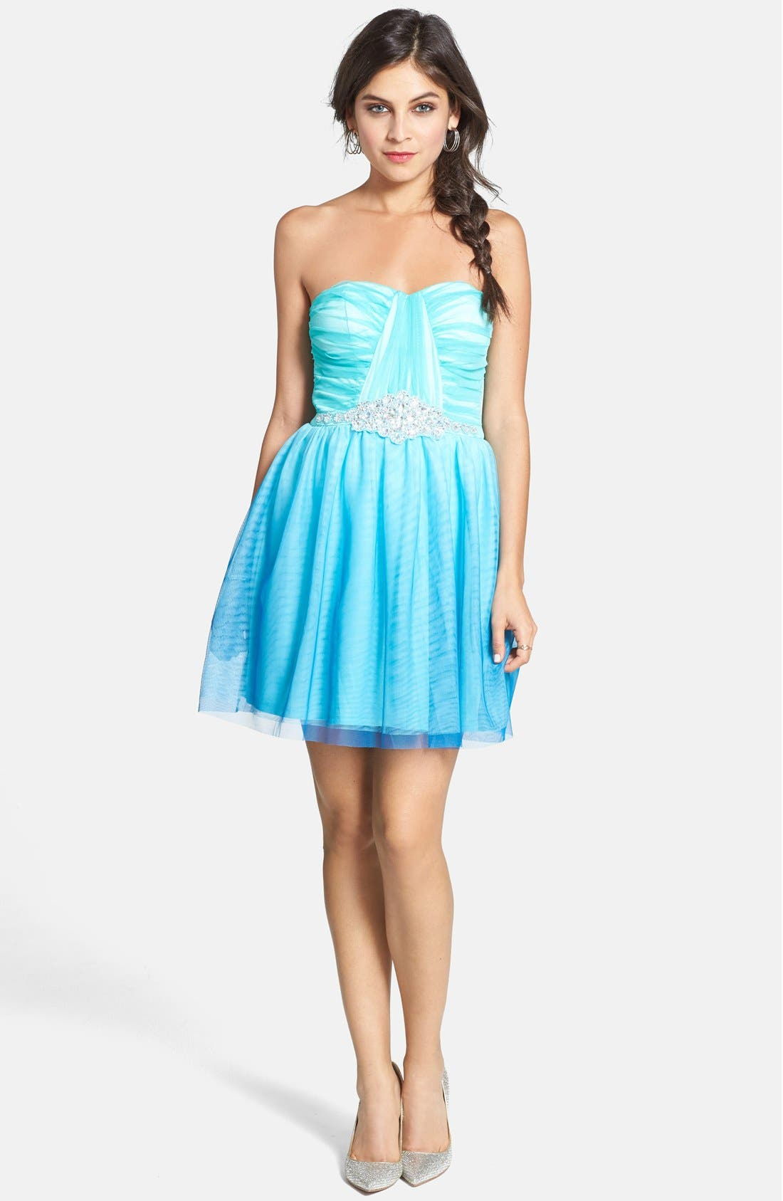 Main Image - As U Wish 'Wendy' Embellished Ombré Fit & Flare Dress (Juniors)