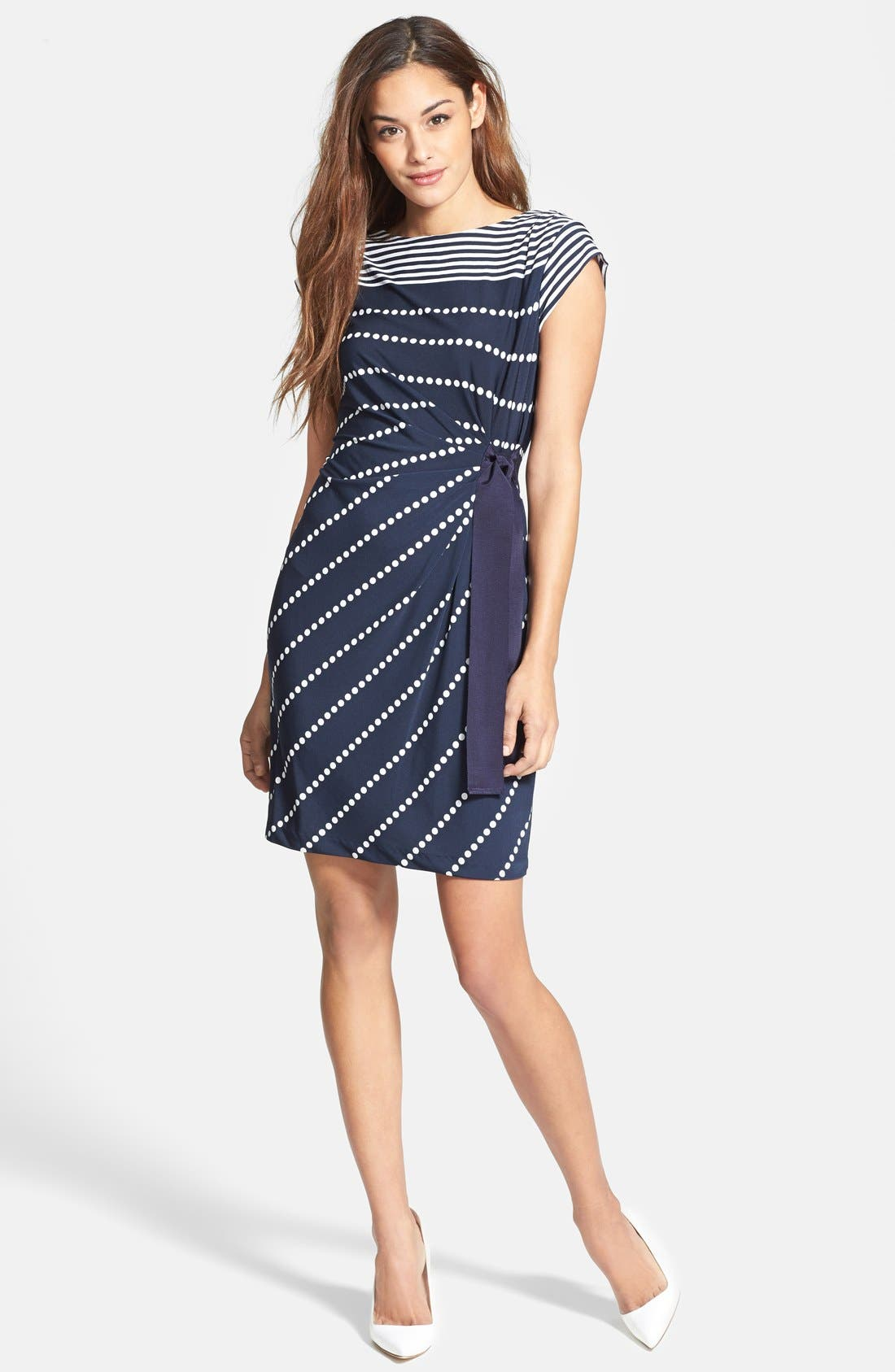 Main Image - Taylor Dresses Side Tie Print Jersey Sheath Dress (Petite)