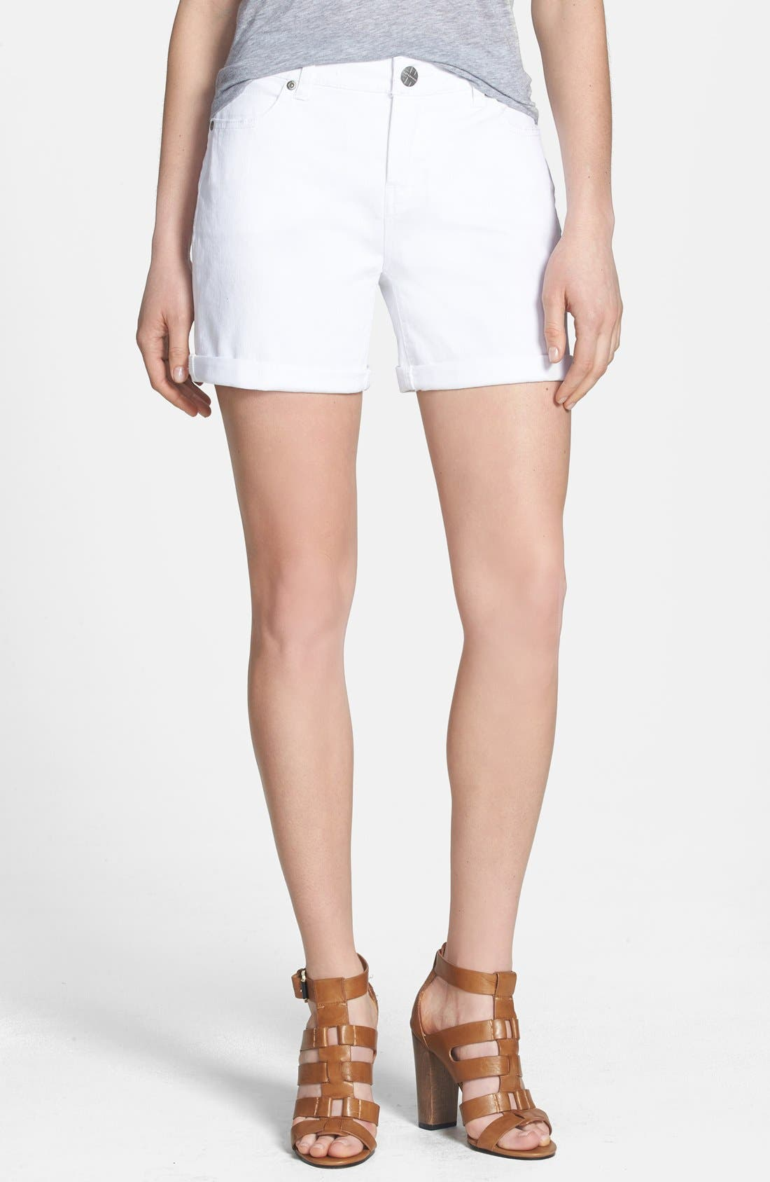 Alternate Image 1 Selected - Liverpool Jeans Company 'Linda' Denim Shorts (White)