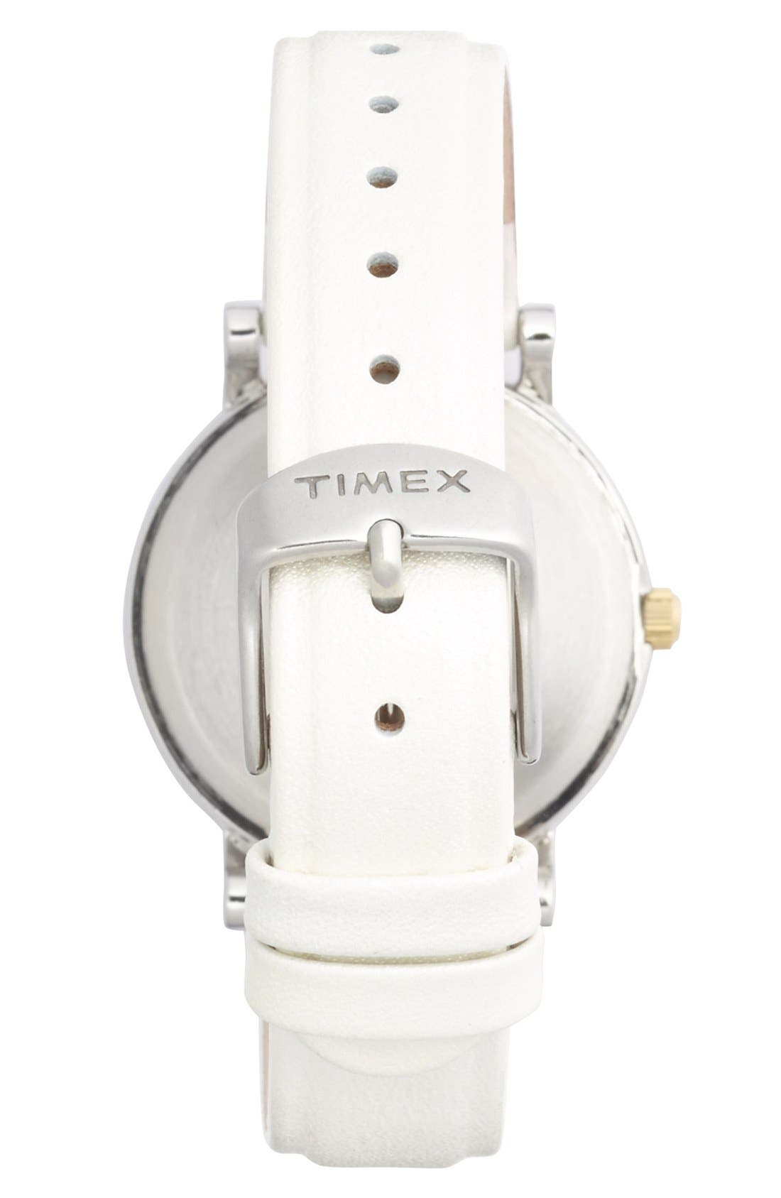 Alternate Image 2  - Timex® Round Leather Strap Watch, 33mm