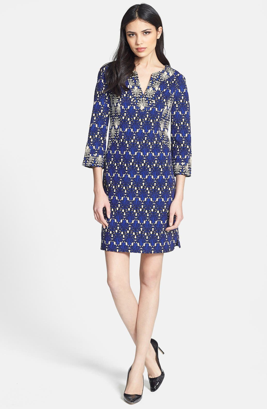 Alternate Image 3  - Donna Morgan Print Cotton Jacquard Shift Dress