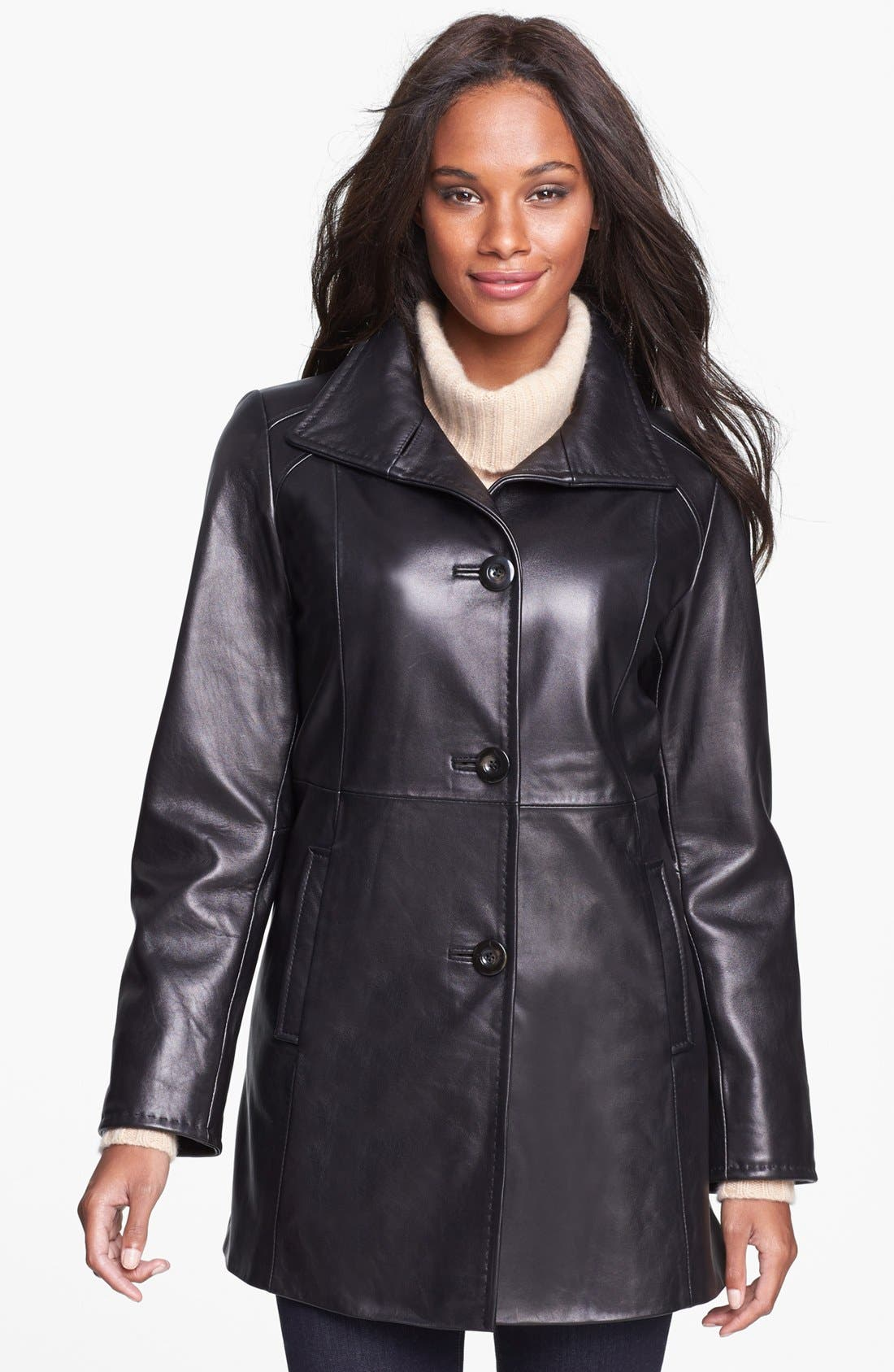 Main Image - Ellen Tracy Leather Car Coat (Petite)