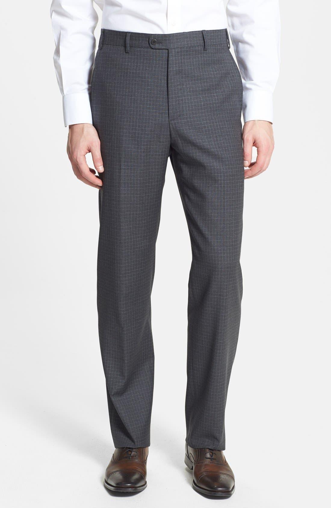 Main Image - Zanella 'Todd' Flat Front Check Trousers