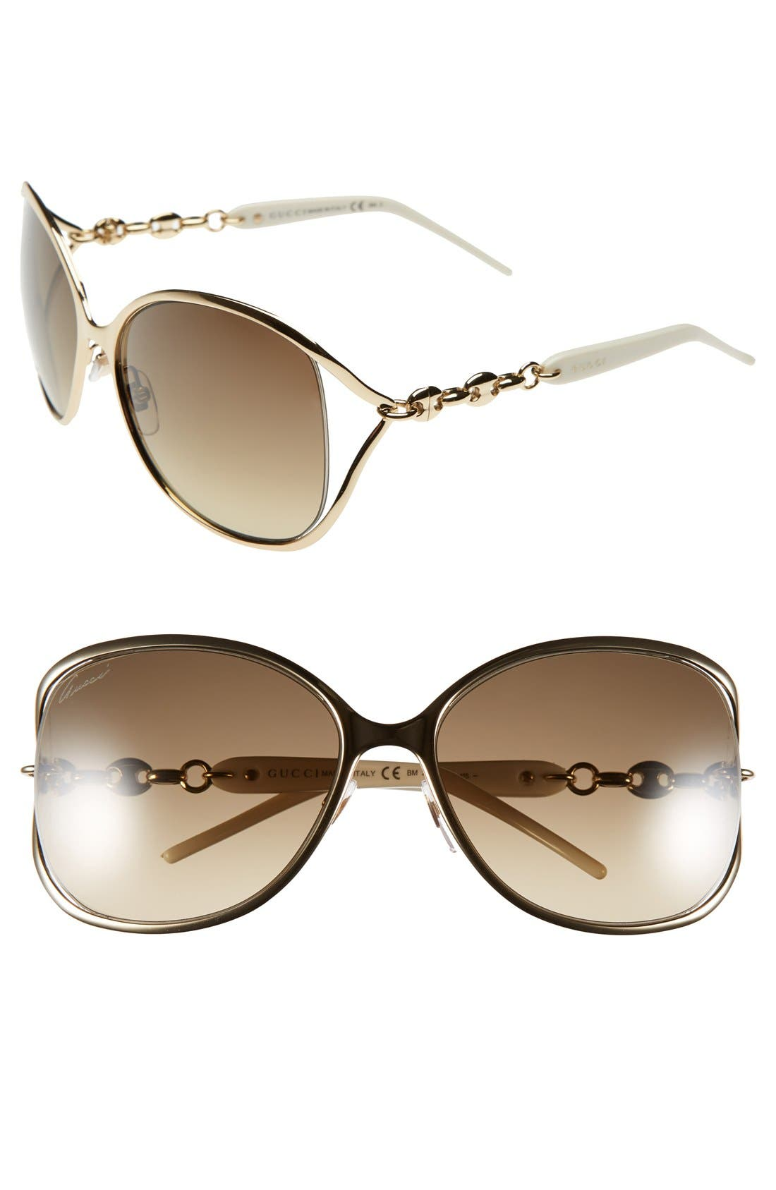 Main Image - Gucci 60mm Butterfly Sunglasses
