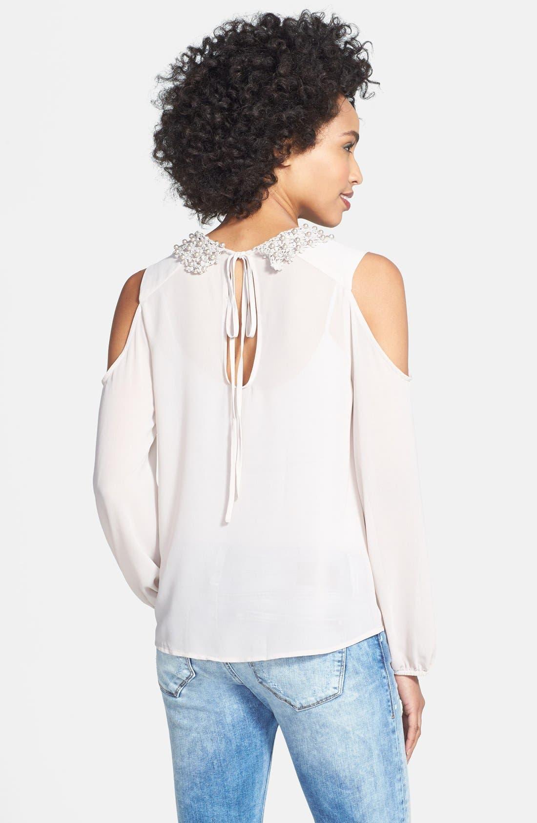 Alternate Image 2  - Nikki Rich Beaded Collar Cold Shoulder Blouse