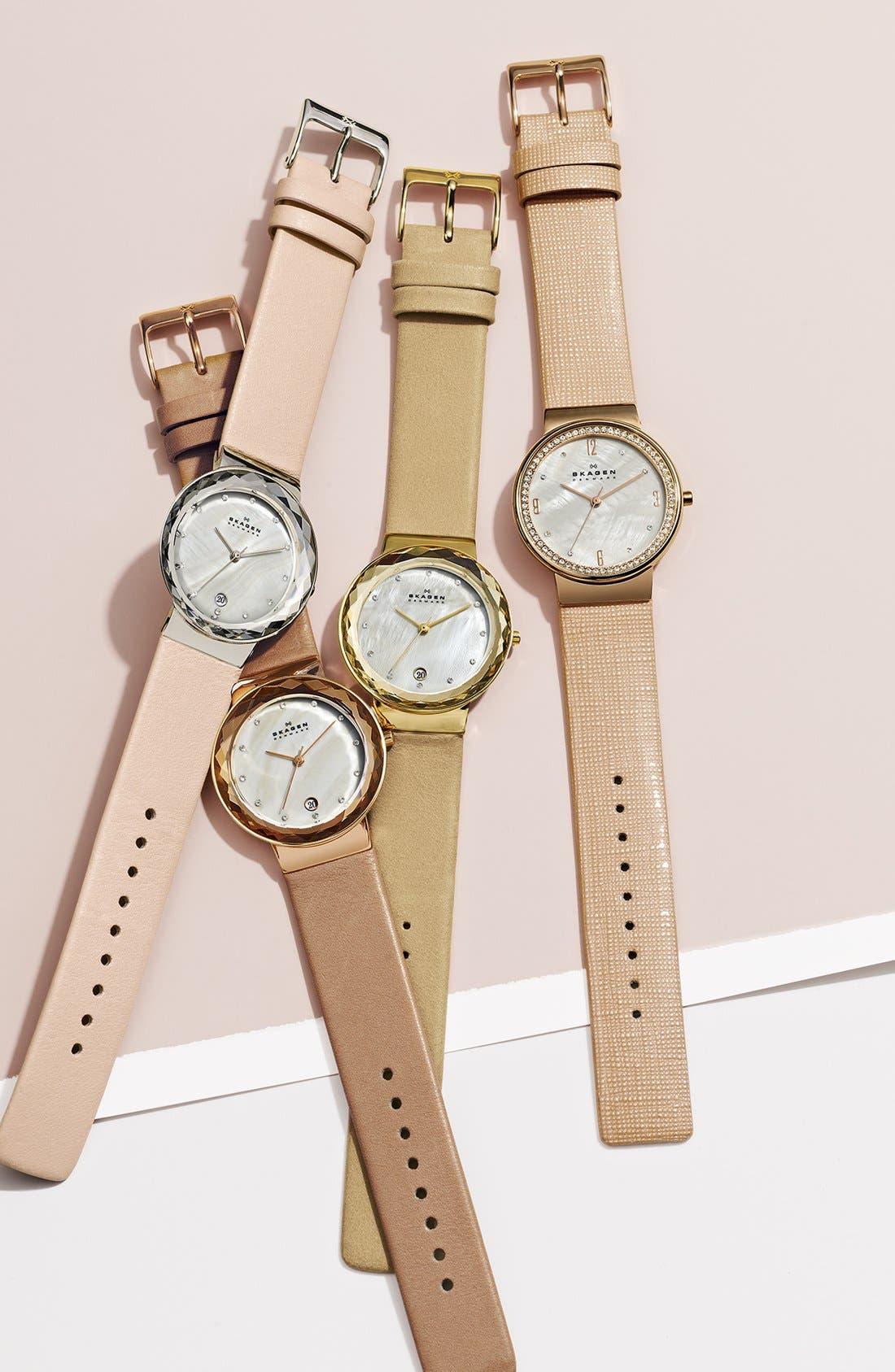 Alternate Image 2  - Skagen Faceted Glass Bezel Leather Strap Watch, 34mm