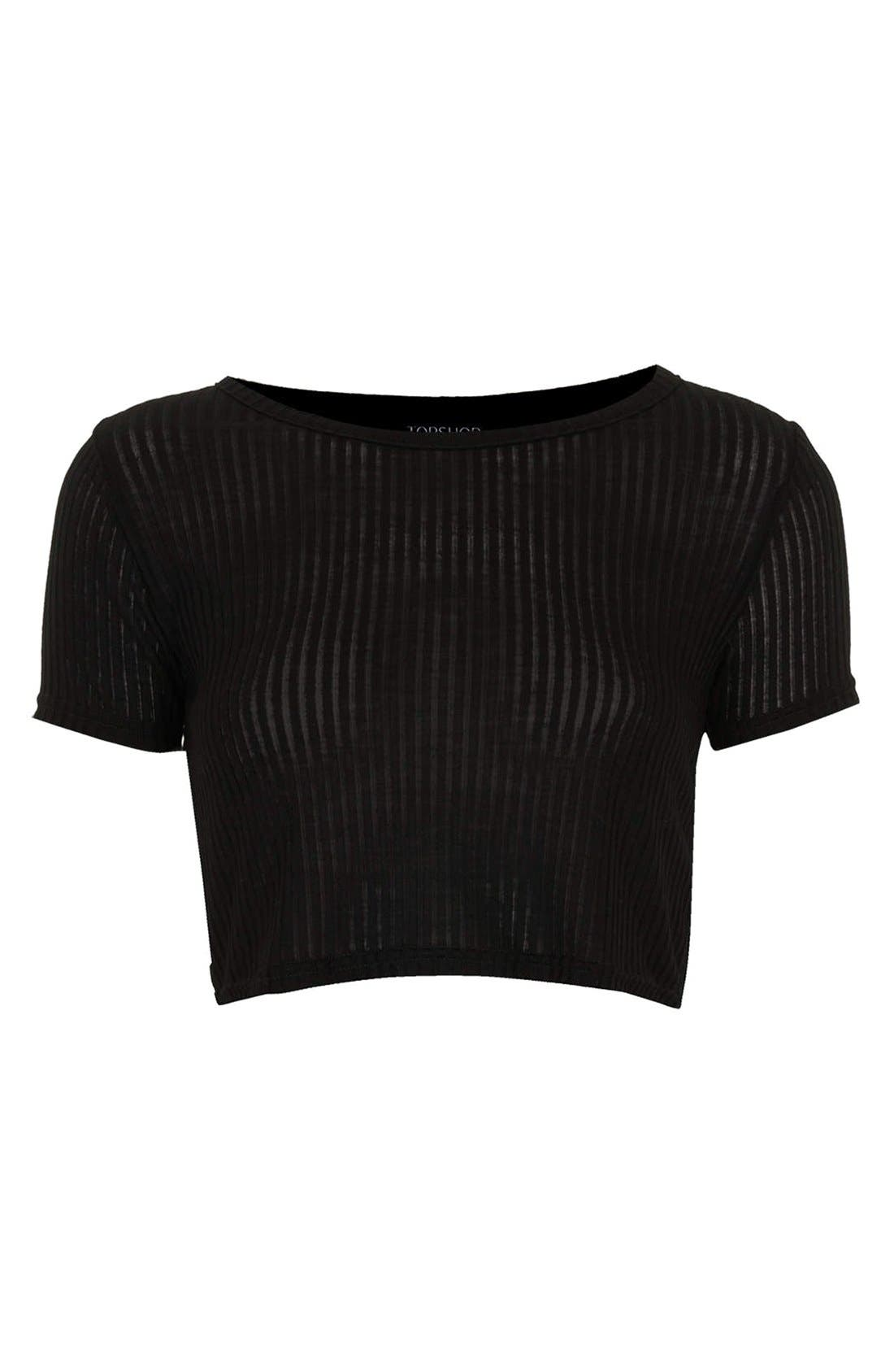 Alternate Image 4  - Topshop Ribbed Crop Tee