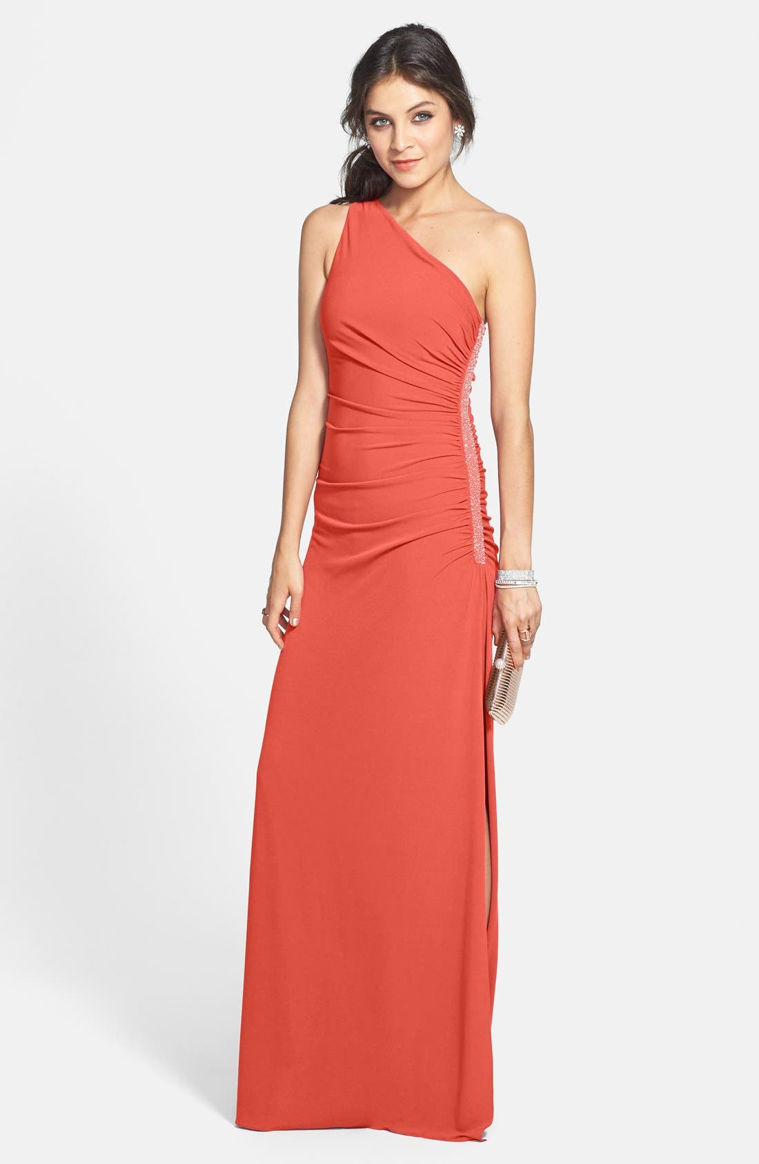 Main Image - Laundry by Shelli Segal Beaded Panel One-Shoulder Jersey Gown (Regular & Petite)