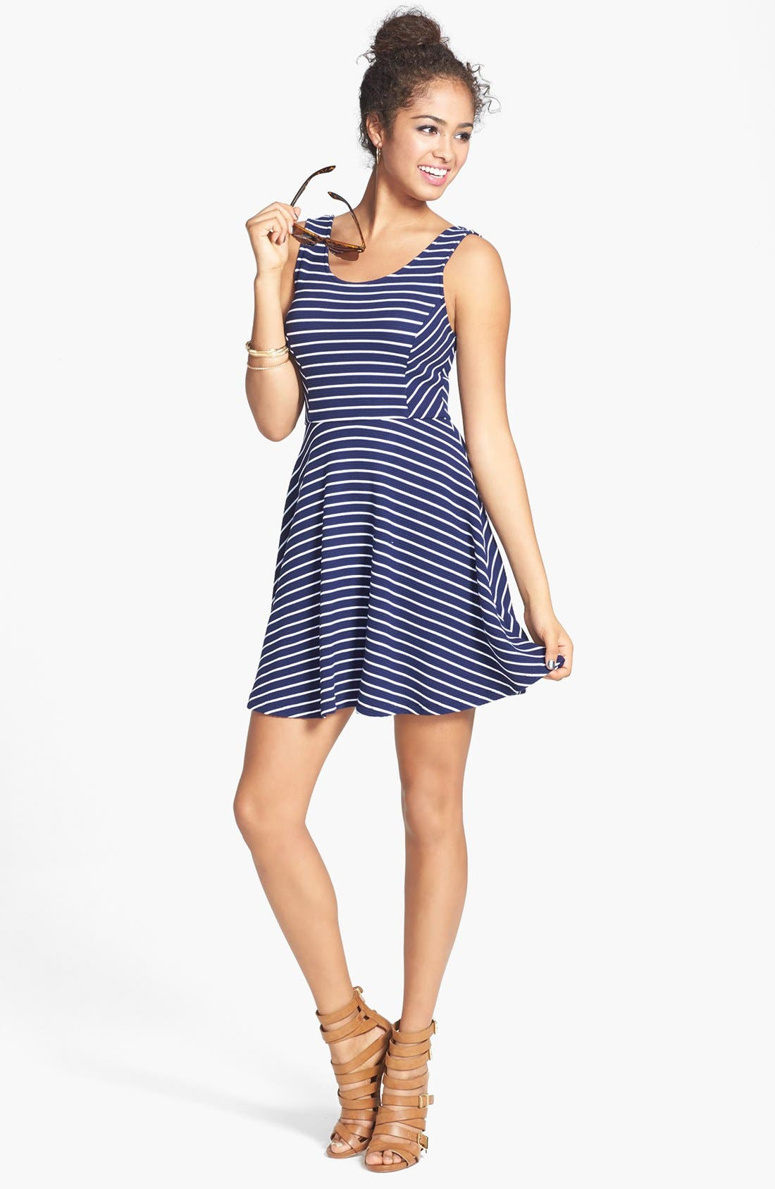 Main Image - Lush Knit Tank Skater Dress (Juniors)