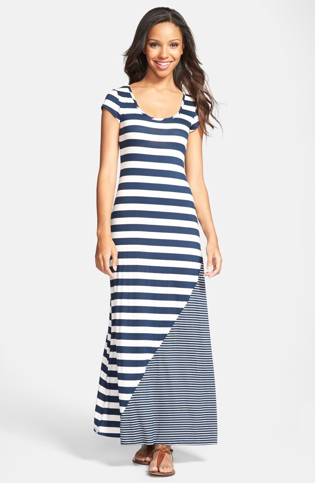 Main Image - Everleigh Multi Stripe Short Sleeve Maxi Dress (Regular & Petite)