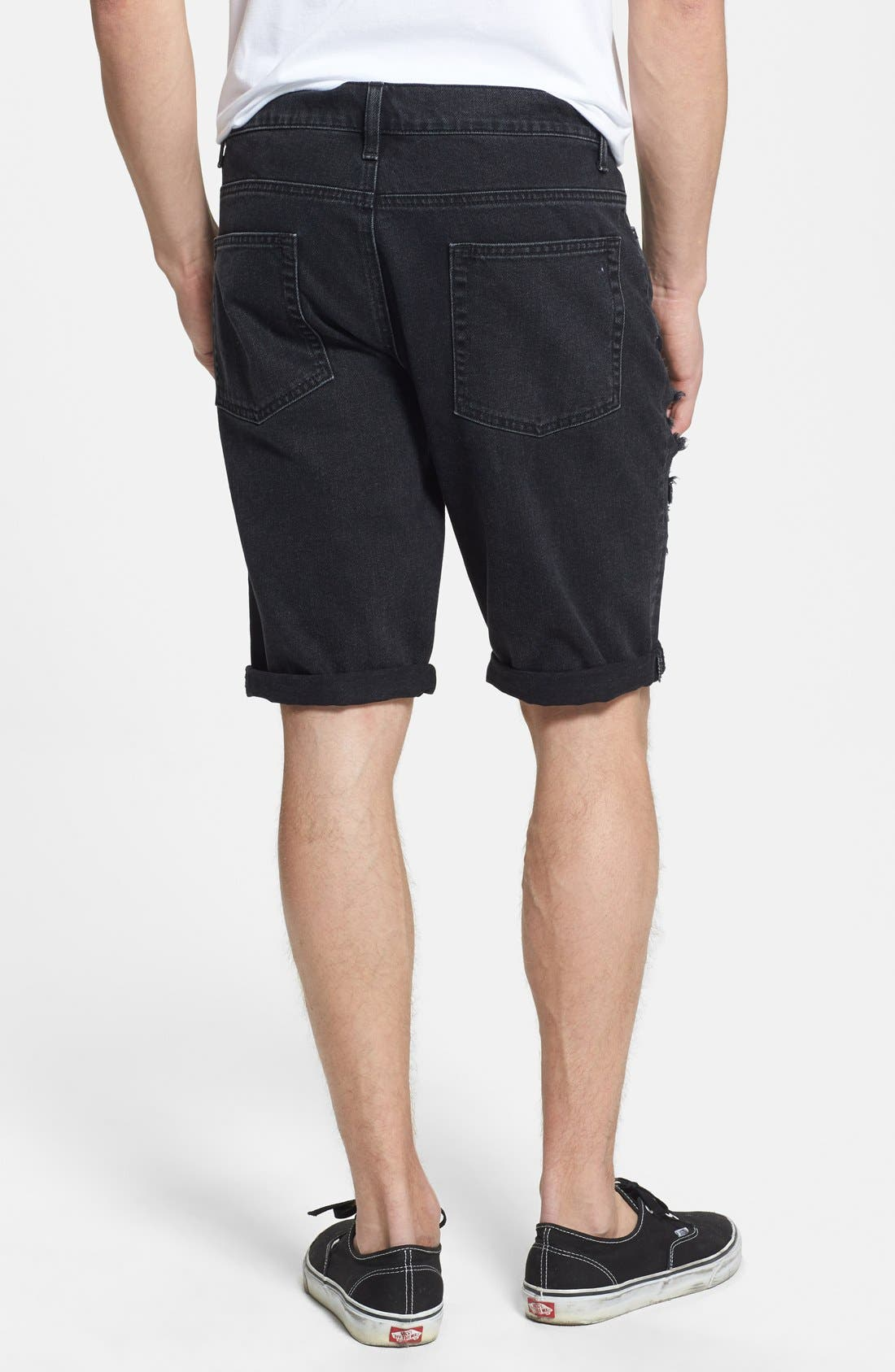 Alternate Image 2  - Topman Skinny Fit Destroyed Black Denim Shorts