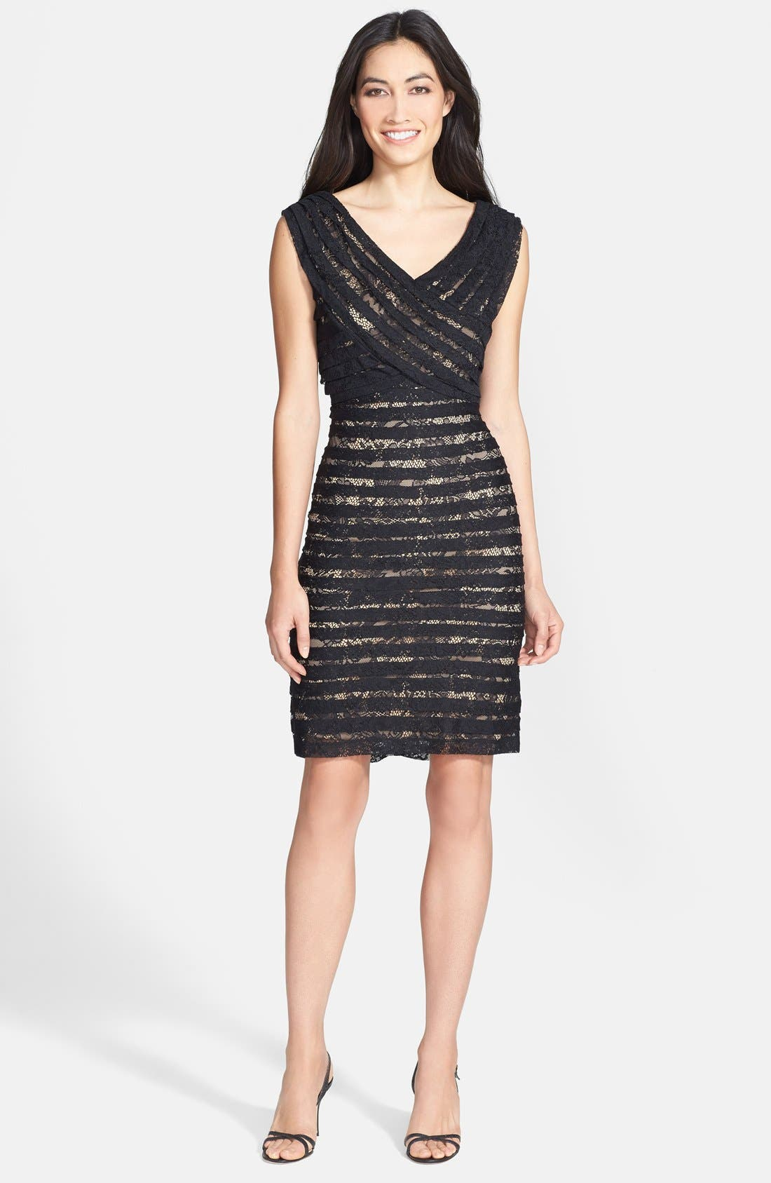 Alternate Image 3  - Adrianna Papell Crossover Bodice Banded Lace Dress