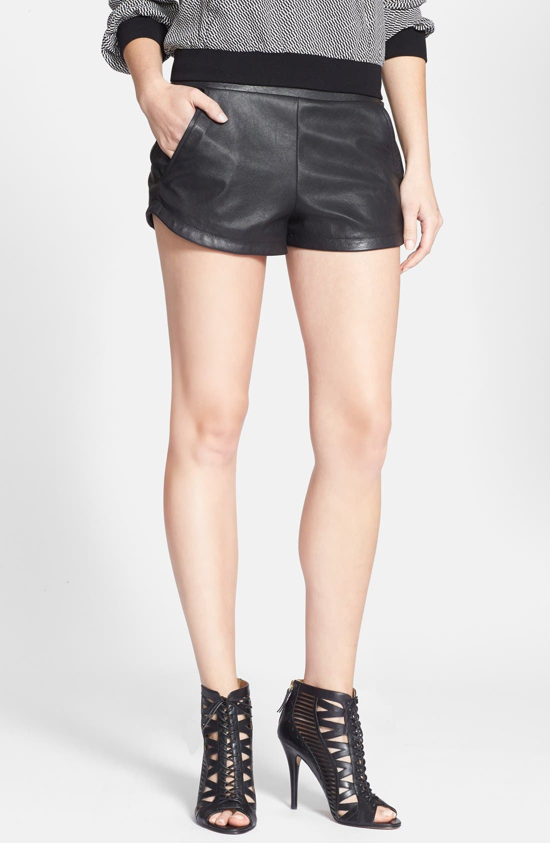 Alternate Image 1 Selected - Max & Mia Faux Leather Athletic Shorts