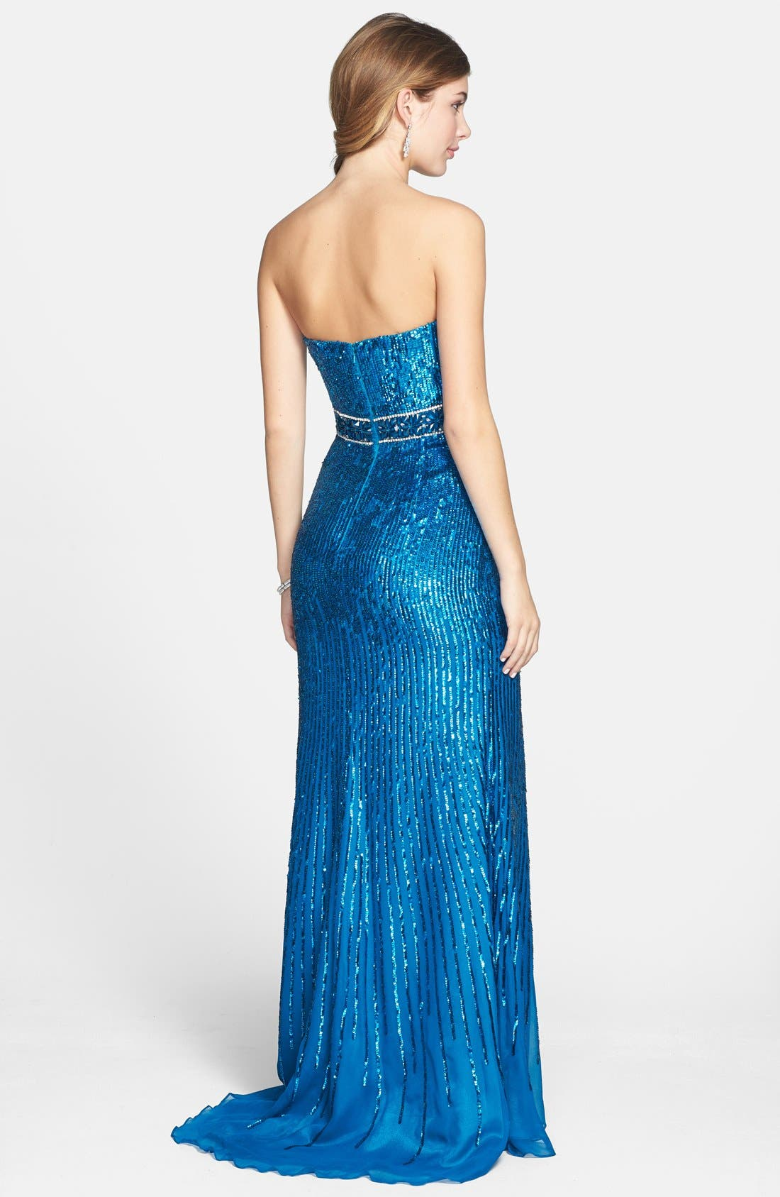 Alternate Image 2  - Sherri Hill Sequin Chiffon Strapless Gown