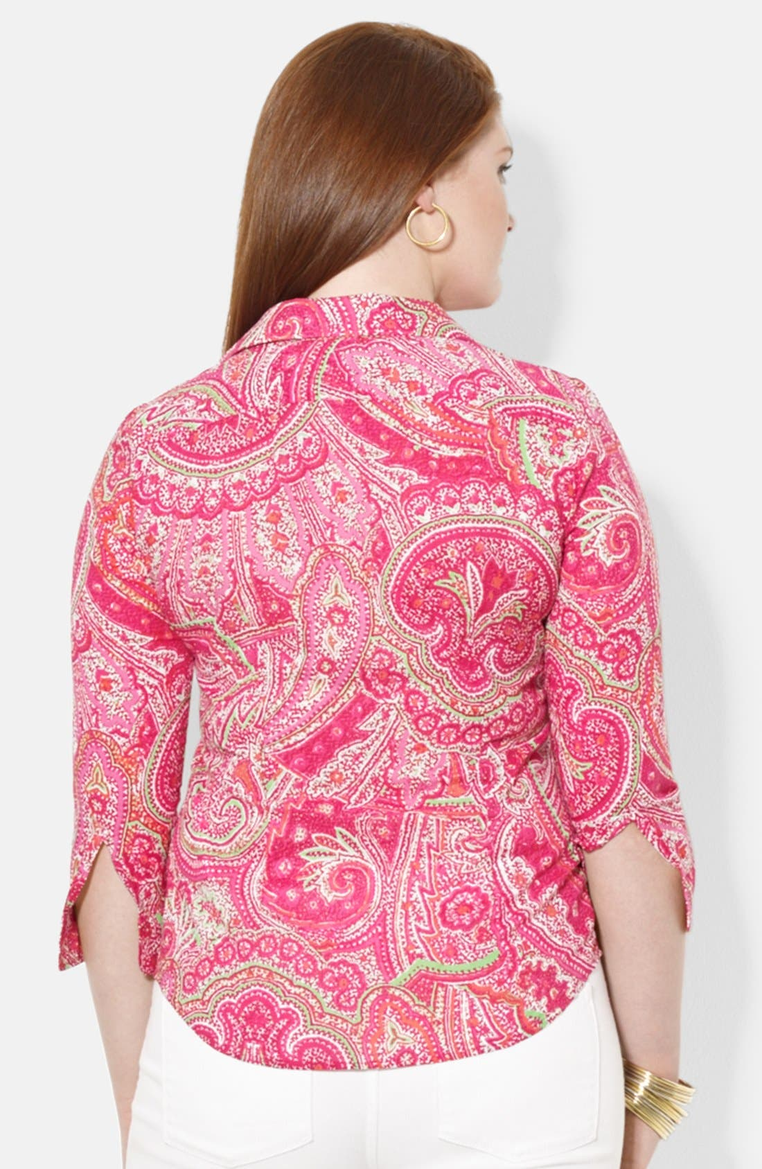 Alternate Image 2  - Lauren Ralph Lauren Three Quarter Sleeve Shirt (Plus Size)