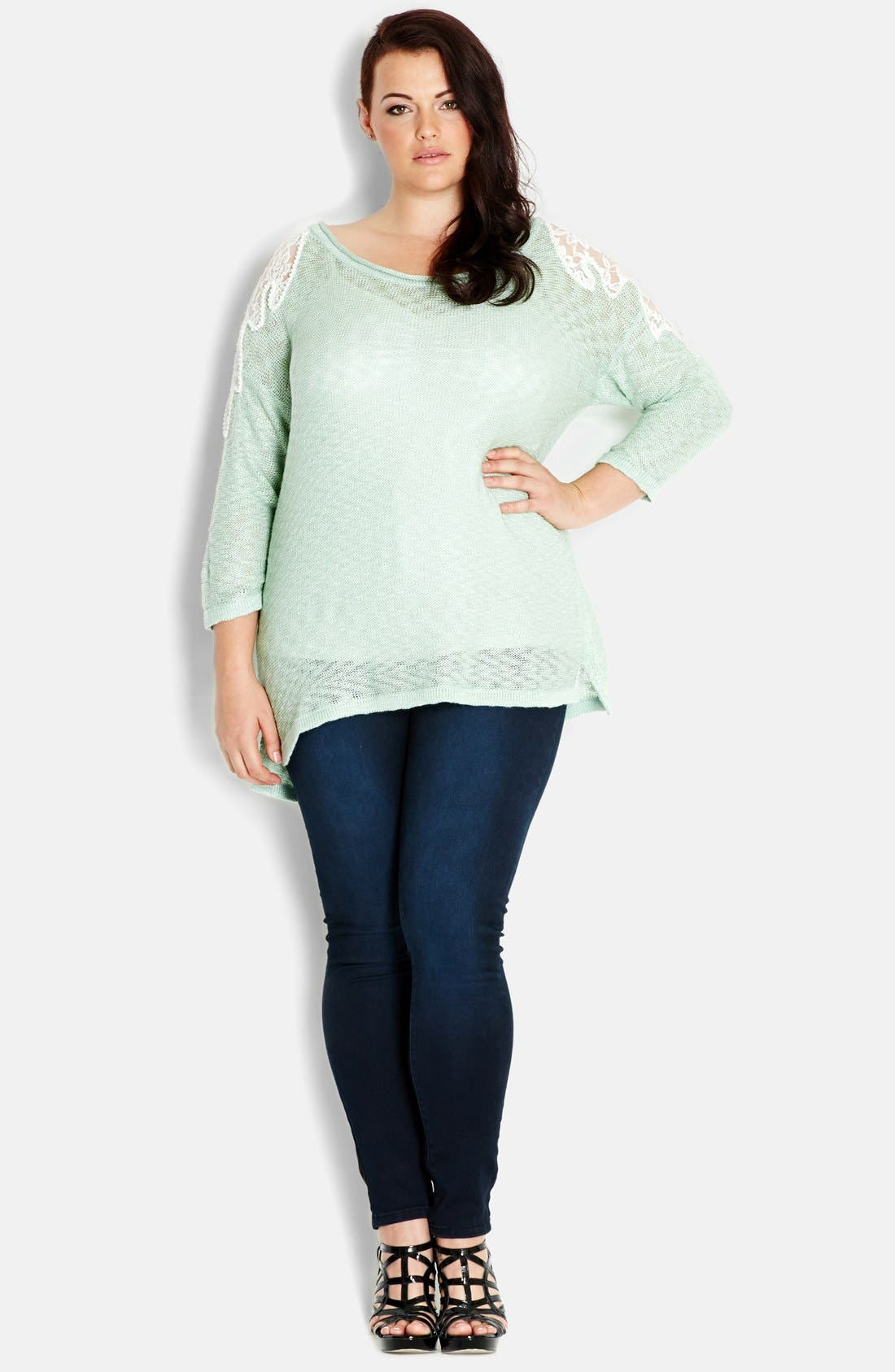 Alternate Image 1 Selected - City Chic 'Precious Pearl' Lace Inset Sweater (Plus Size)