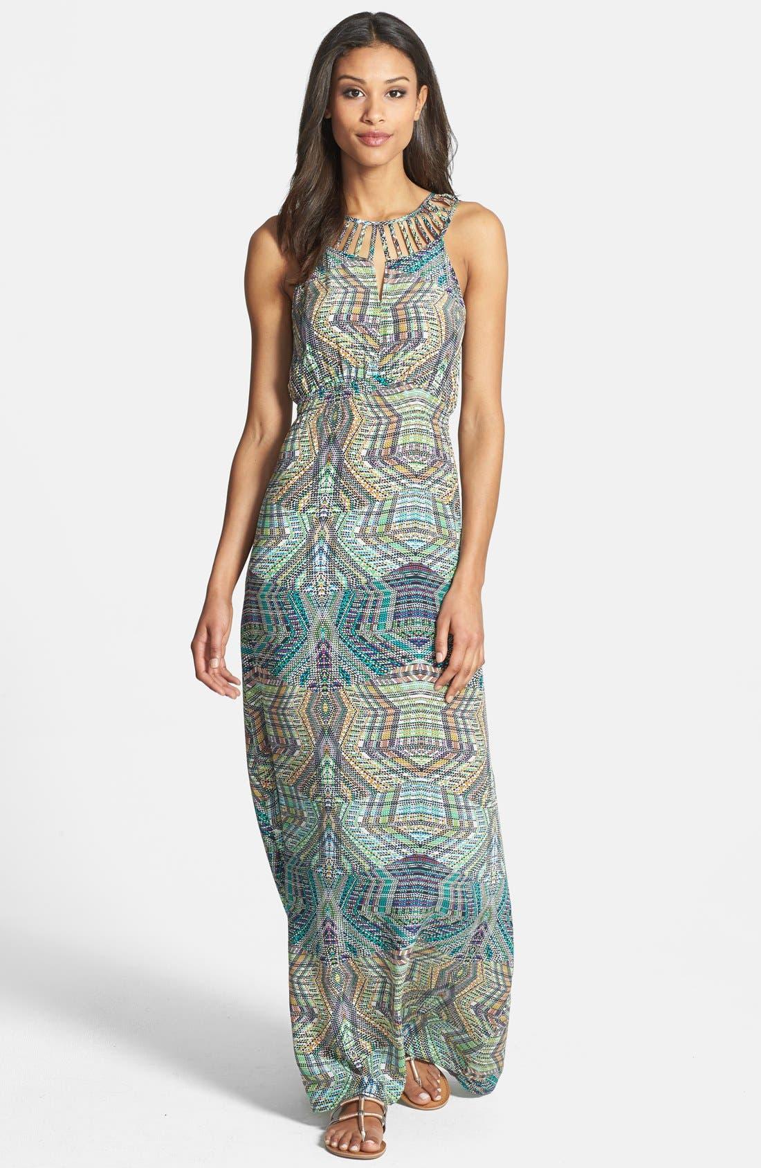 Main Image - Charlie Jade 'Jacy' Print Silk Crêpe de Chine Maxi Dress