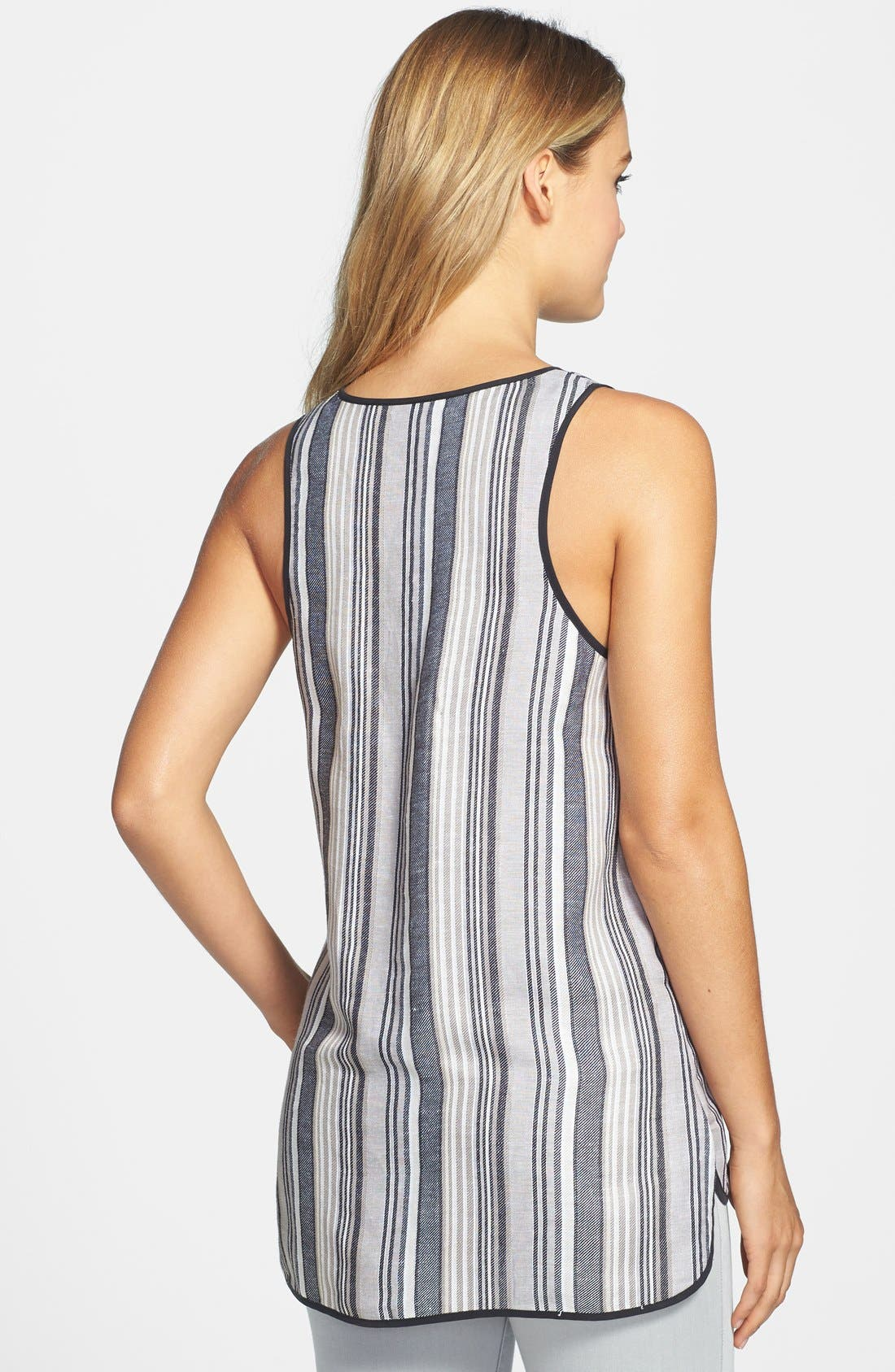 Alternate Image 2  - Vince Camuto Stripe Linen Blend One Pocket Tank