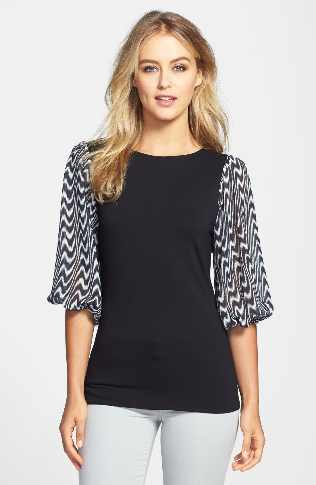 Alternate Image 1 Selected - Vince Camuto Print Chiffon Sleeve Stretch Knit Top