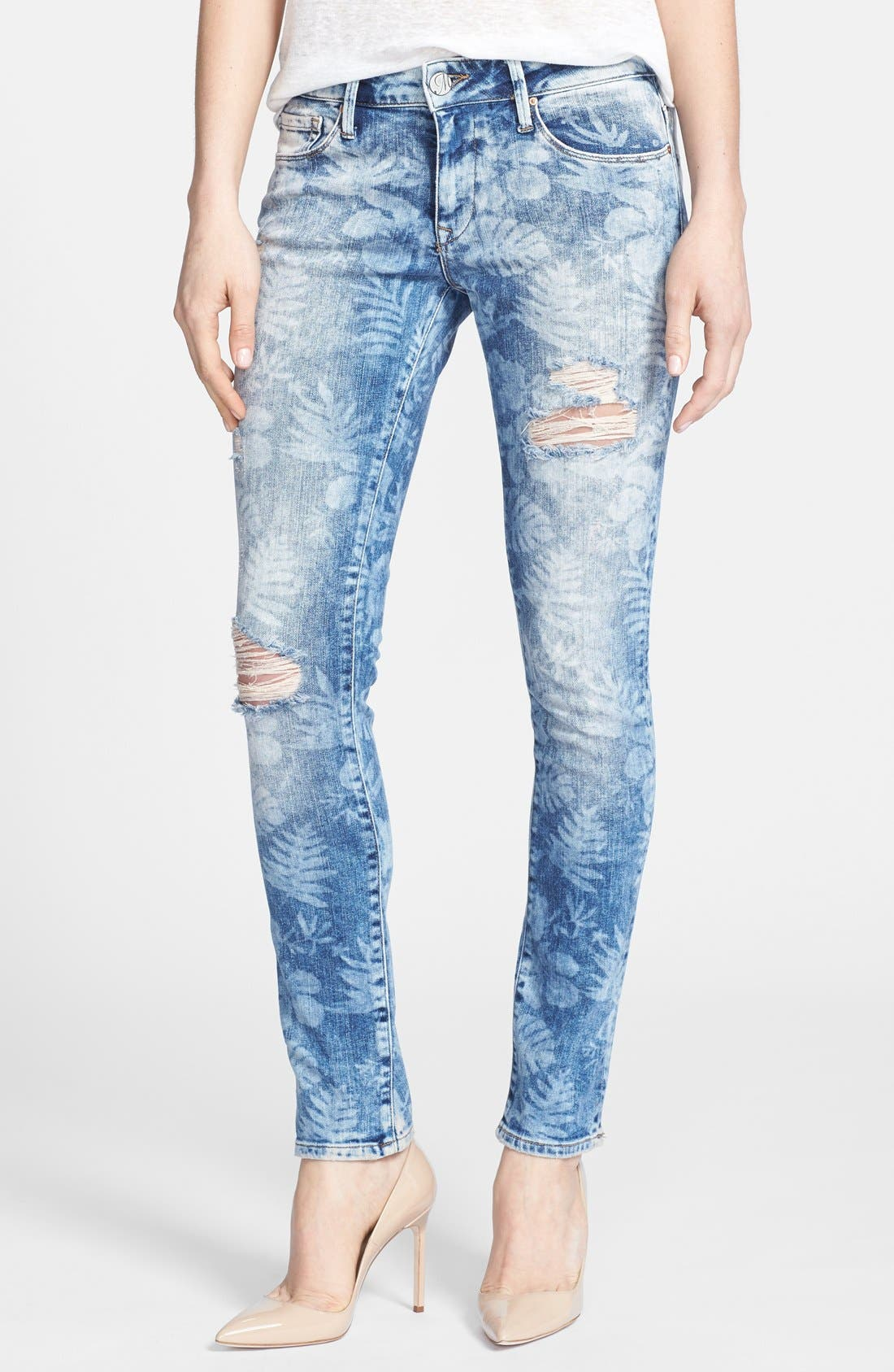 Alternate Image 1 Selected - Mavi Jeans 'Alexa Vintage' Distressed Stretch Skinny Jeans (Artist Vintage)